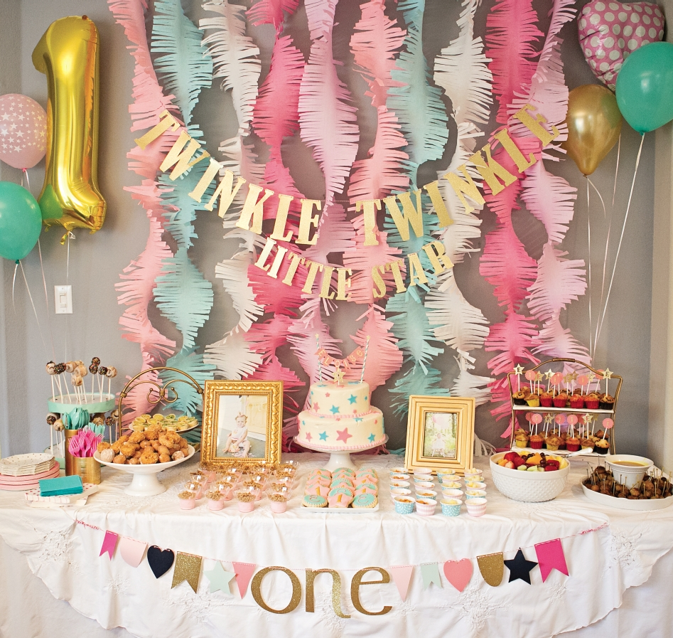 10 Great 1 Year Old Birthday Party Ideas pink and gold twinkle little star 1st birthday party project nursery 6 2020
