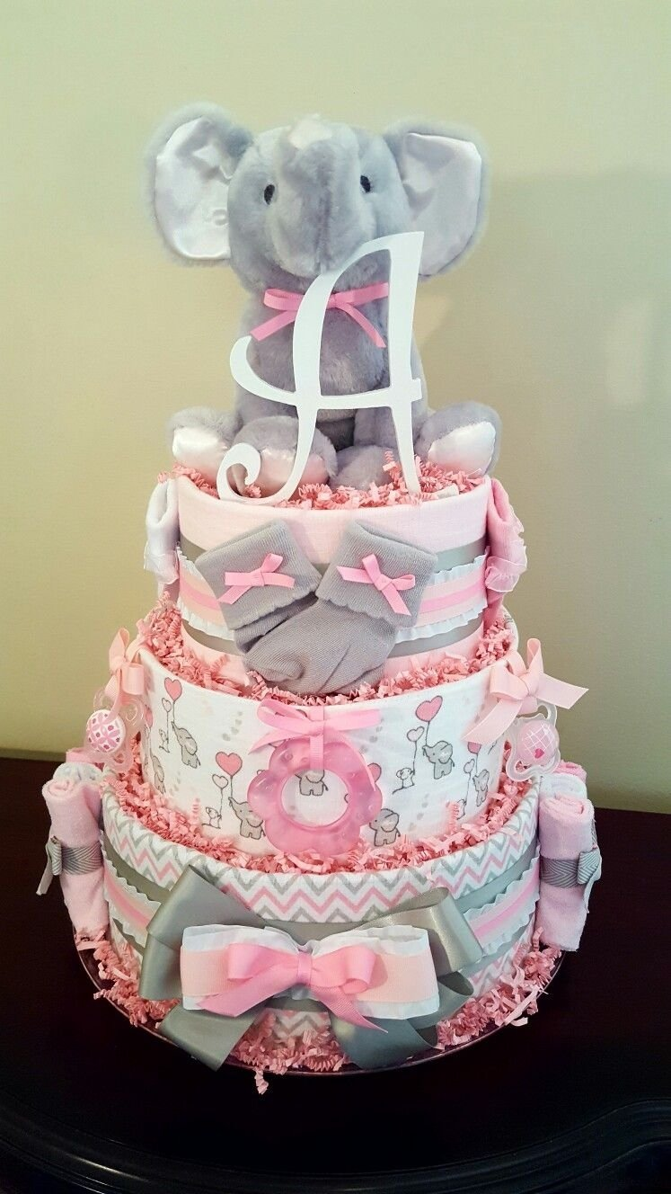 10 Awesome Diaper Cake Ideas For A Girl pink and gray baby girl elephant diaper cake just precious baby 1 2020
