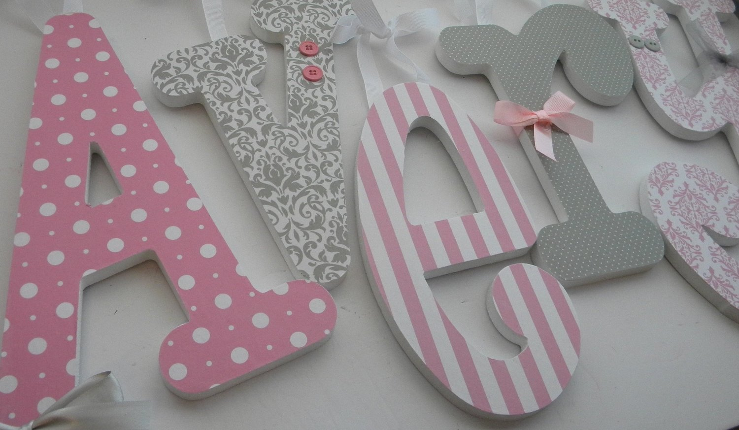 10 Fashionable Ideas For Decorating Wooden Letters pink and grey nursery decor single letter baby girl wooden letters 2020