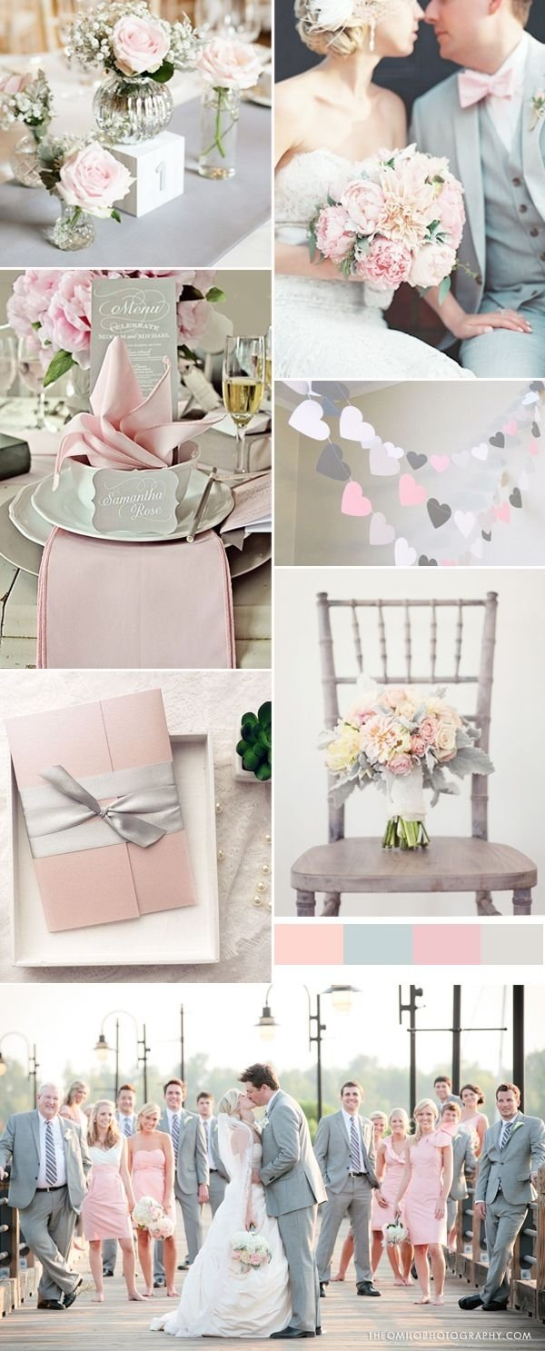 pink and grey wedding trends for spring weddings | wedding colors