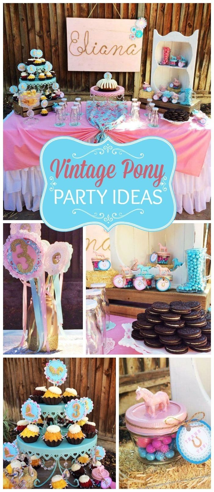 10 Gorgeous Petting Zoo Birthday Party Ideas pink and teal pony themed birthday party ideas decor planning 2020
