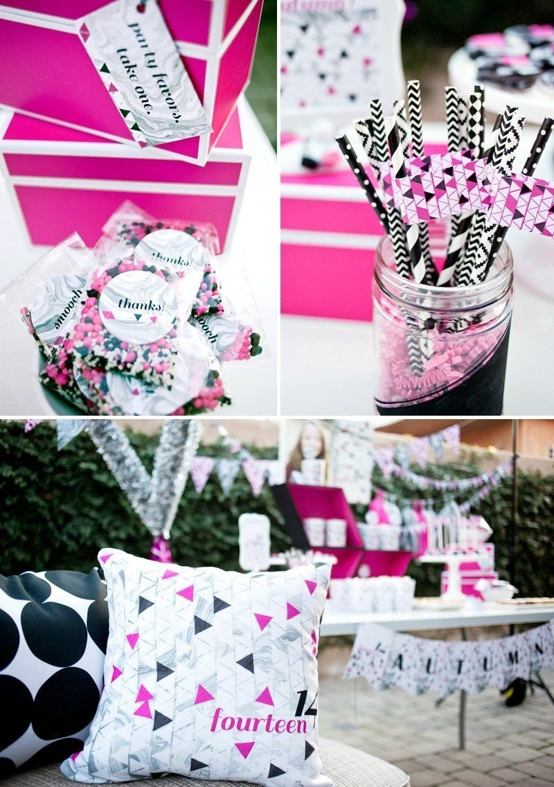 10 Beautiful Pink And Black Birthday Party Ideas pink black geometric 14th birthday party teen birthday parties 2020