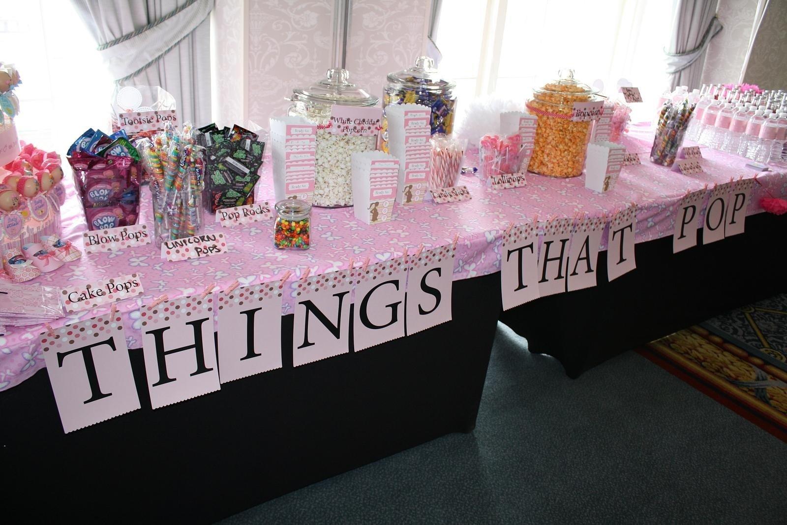 10 Fabulous Baby Shower Table Decoration Ideas pink candy table baby shower e280a2 baby showers design 2020