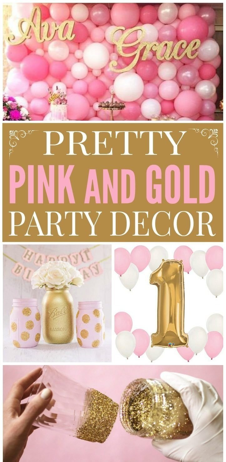 pink & gold decorations | gold party decorations, pink gold party