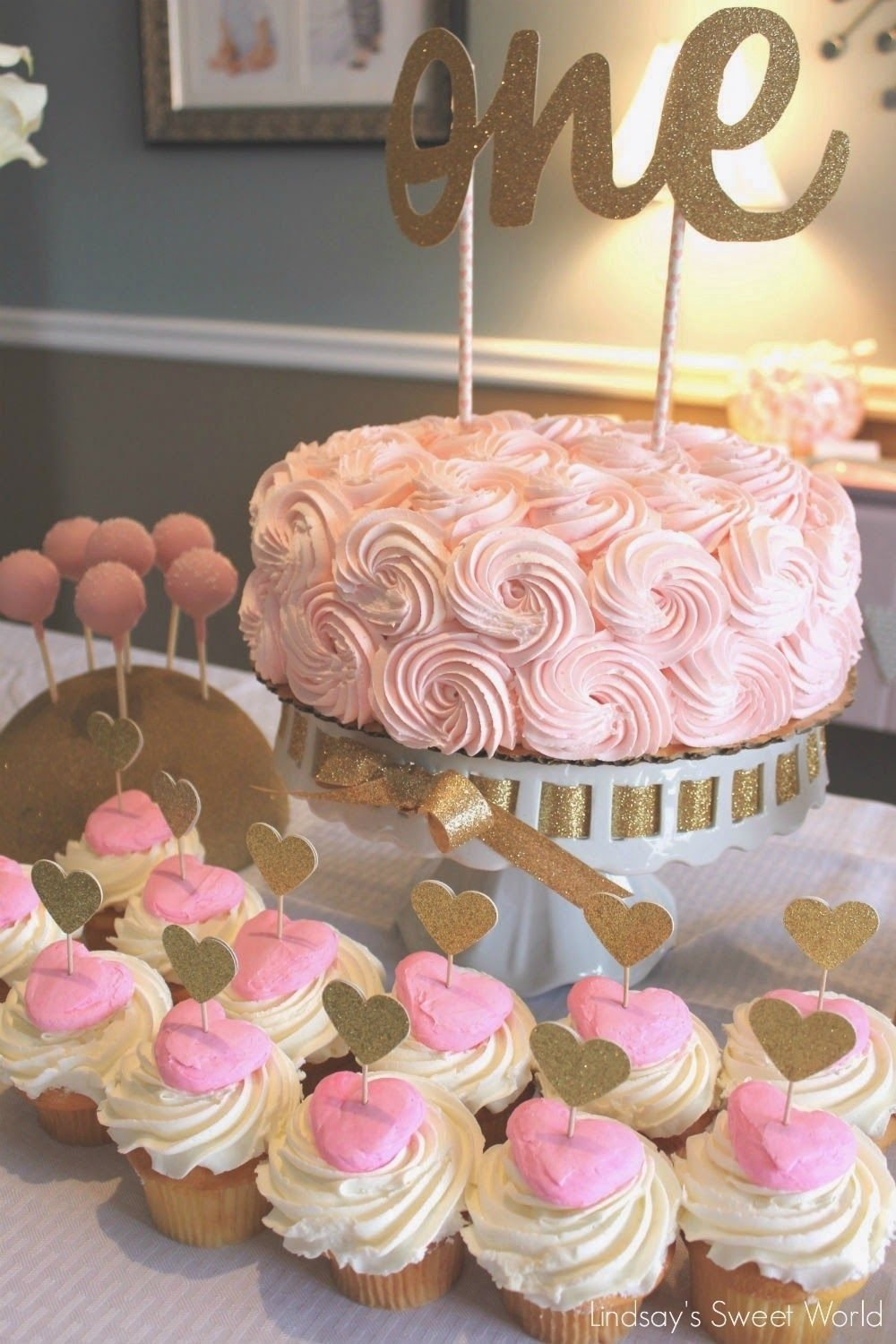 10 Most Popular First Birthday Cake Ideas For Girls pink gold first birthday beautiful cake and cupcakes love the 1 2020