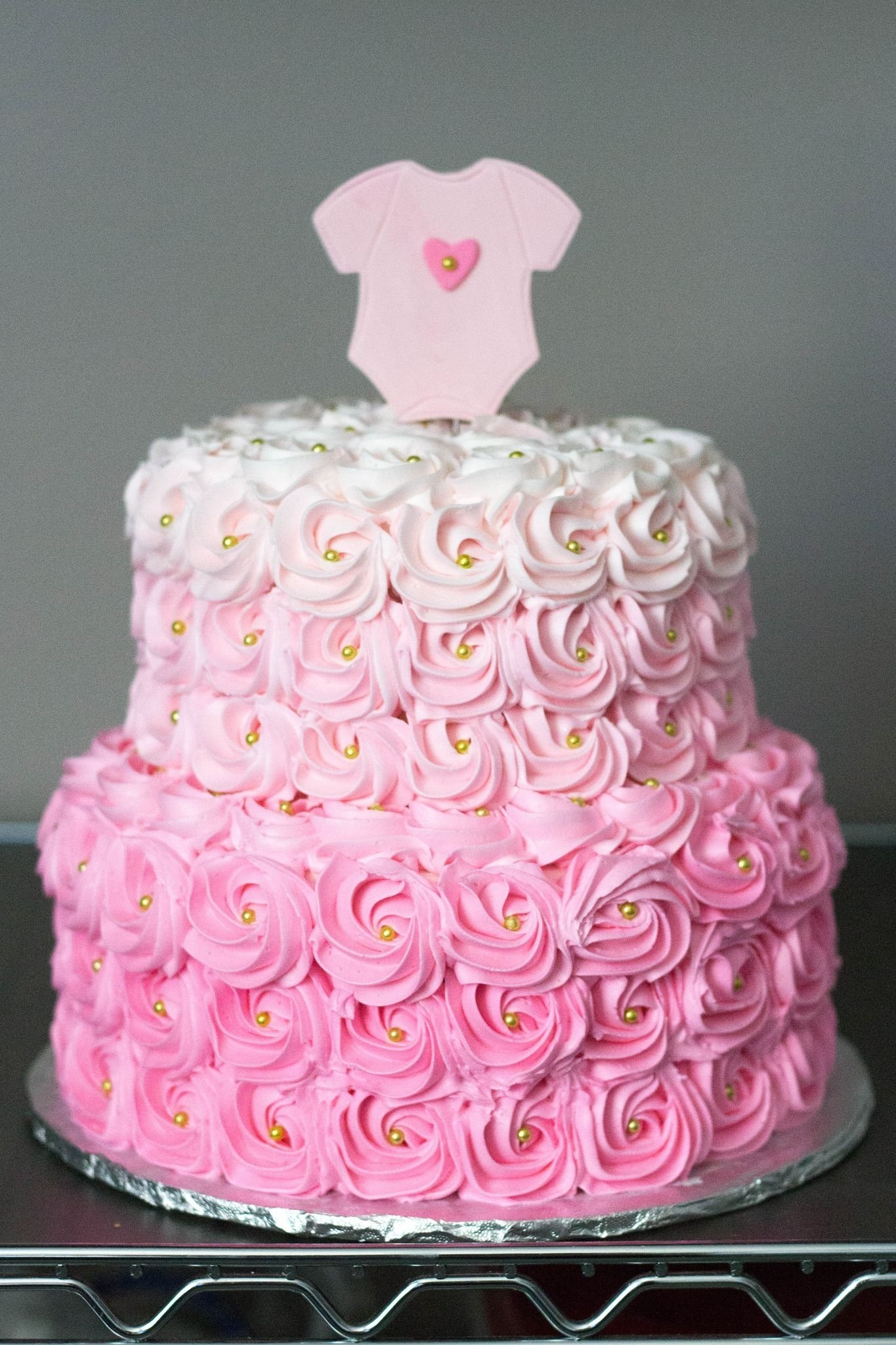 10 Beautiful Girl Baby Shower Cake Ideas pink ombre rosette baby shower cake shower cakes rosettes and ombre