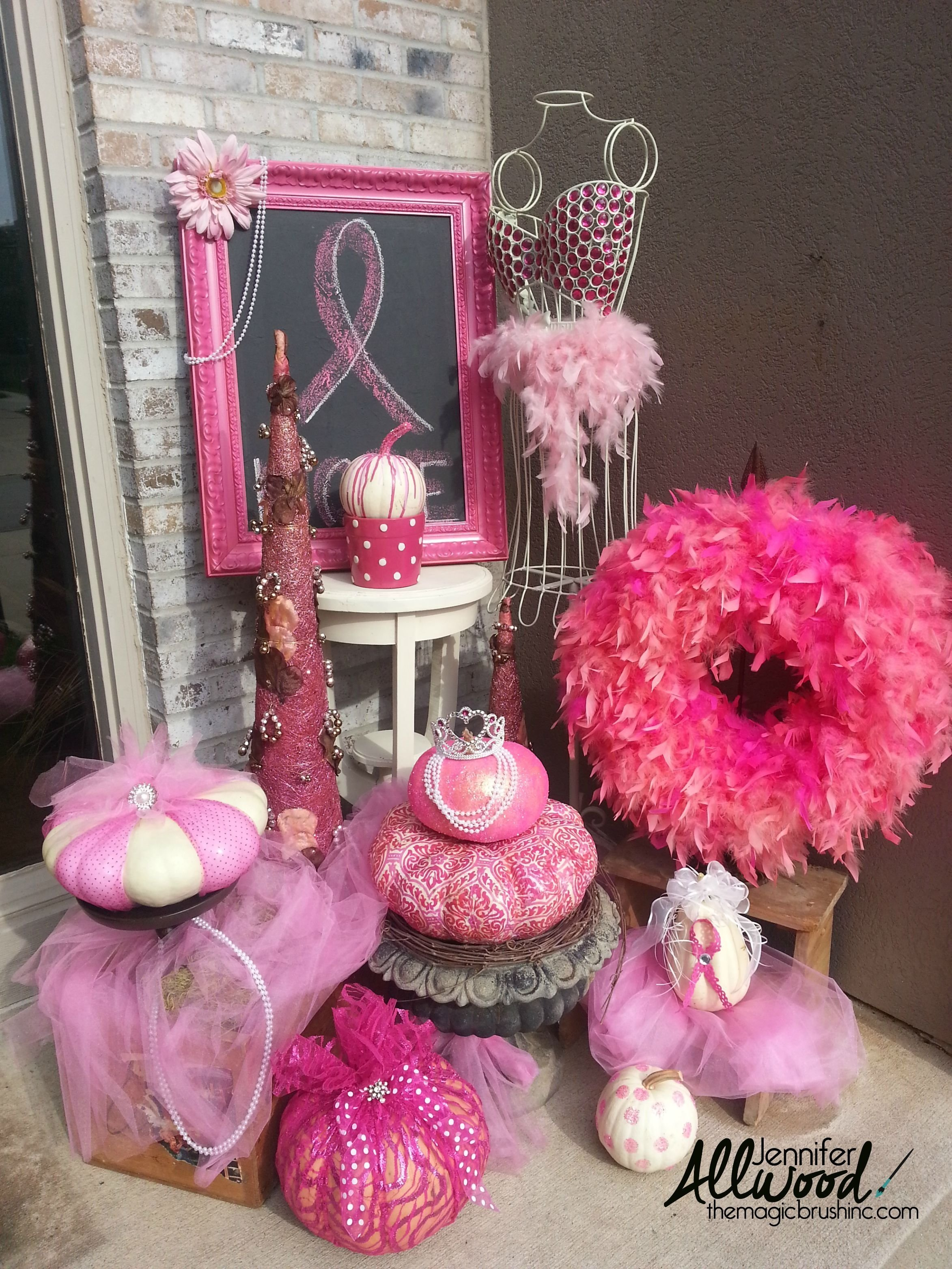 pink pumpkin fall decor for breast cancer awareness month | breast