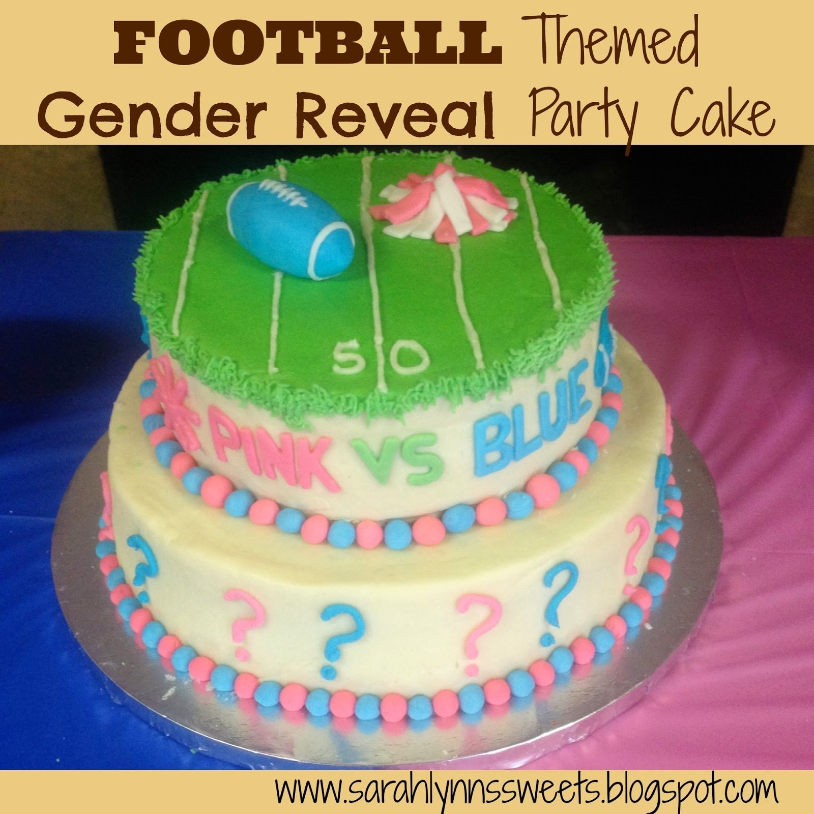 10 Stylish Gender Reveal Party Cake Ideas pink vs blue football gender reveal party 2020