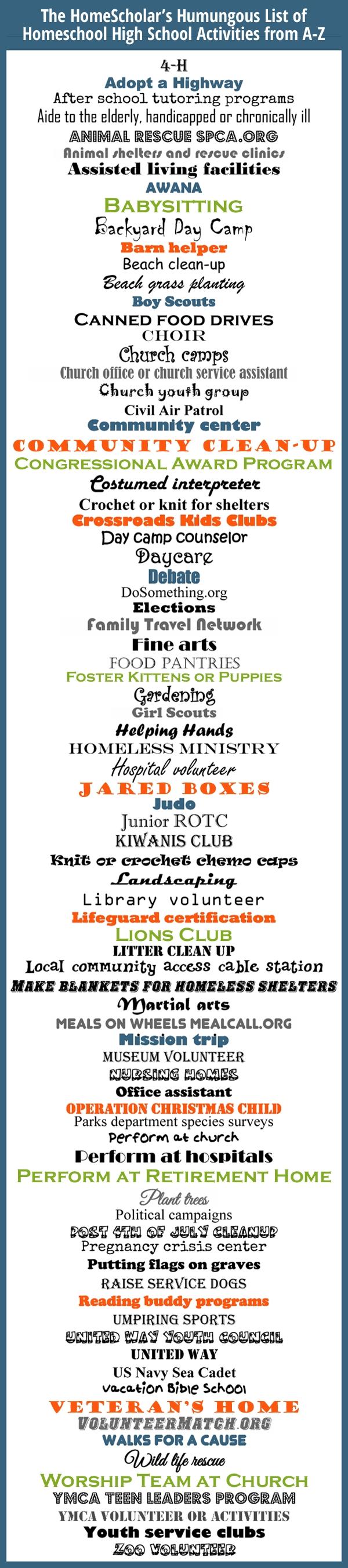 10 Lovely Community Service Ideas For High School pinlee binz the homescholar on homeschool infographics 1