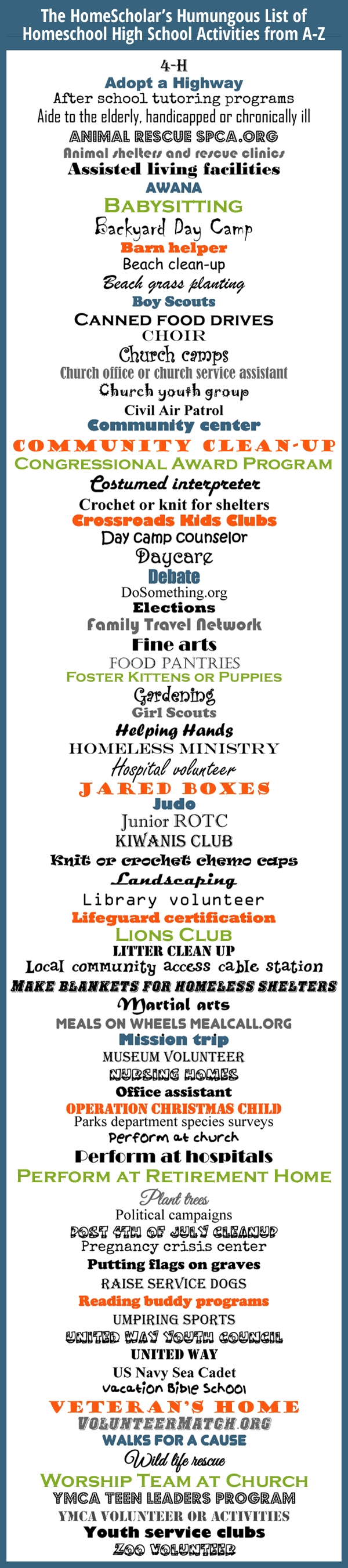 10 Fashionable Service Project Ideas For Highschool Students pinlee binz the homescholar on homeschool infographics 3 2020