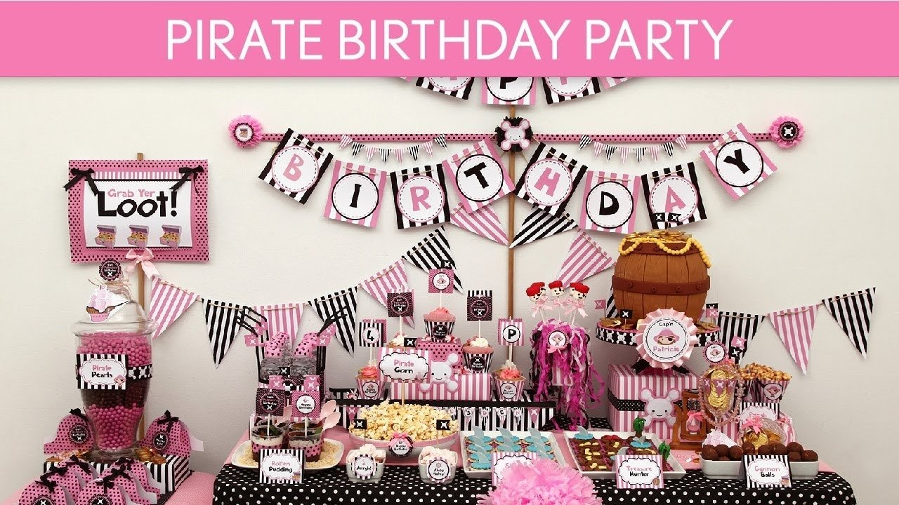 10 Beautiful Pink And Black Birthday Party Ideas pirate birthday party ideas pirate girl pink black b10 youtube 2020