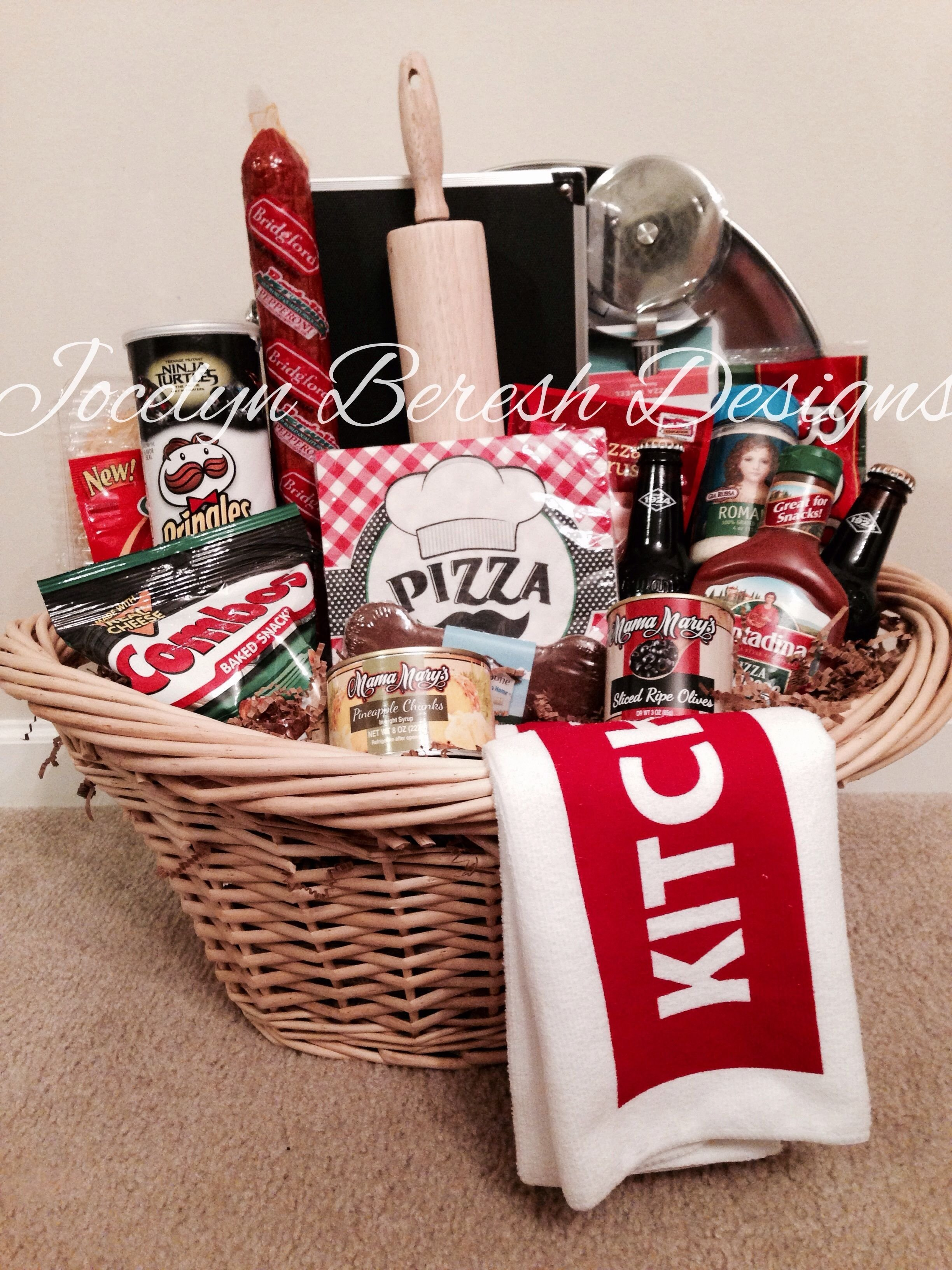 pizza night basket#jocelynbereshdesigns. luxury gift baskets