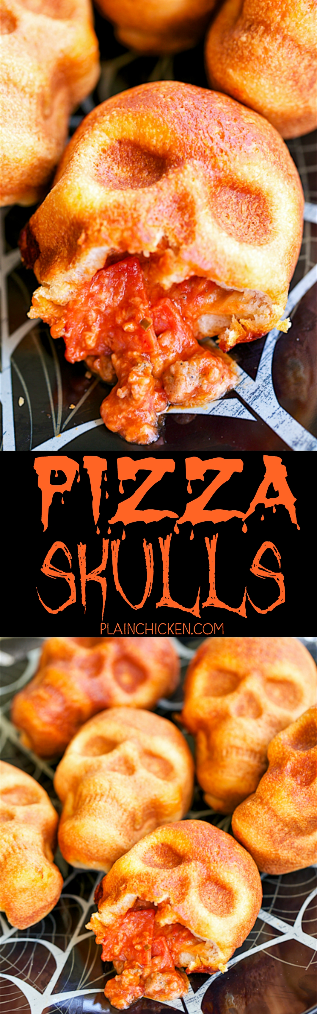 10 Unique Walking Dead Party Food Ideas pizza skulls pizza pockets baked in a skull pan so easy can