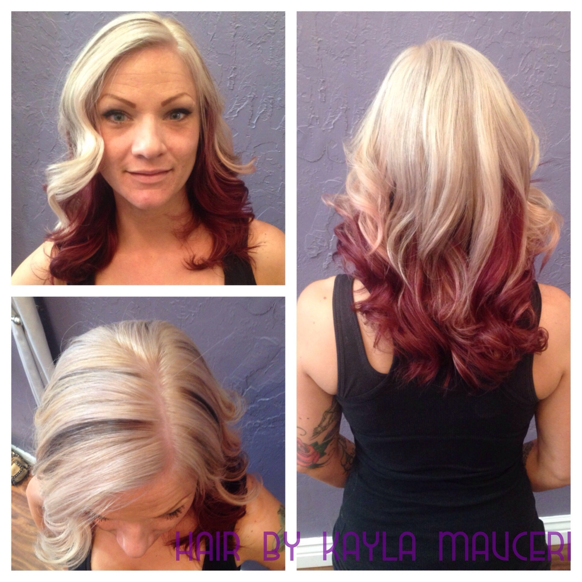 10 Elegant Blonde Two Tone Hair Color Ideas platinum blonde and red violet two tone hair hairkayla mauceri