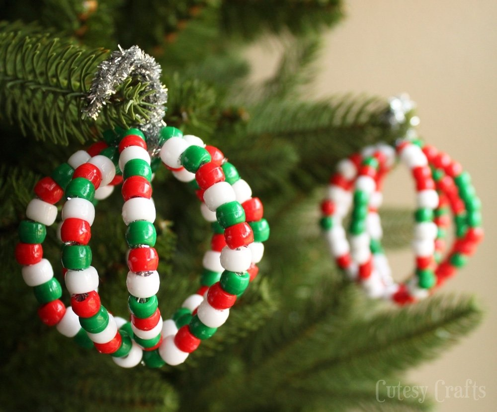 10 Gorgeous Christmas Ornament Craft Ideas For Kids pony bead christmas ornaments cutesy crafts 2021