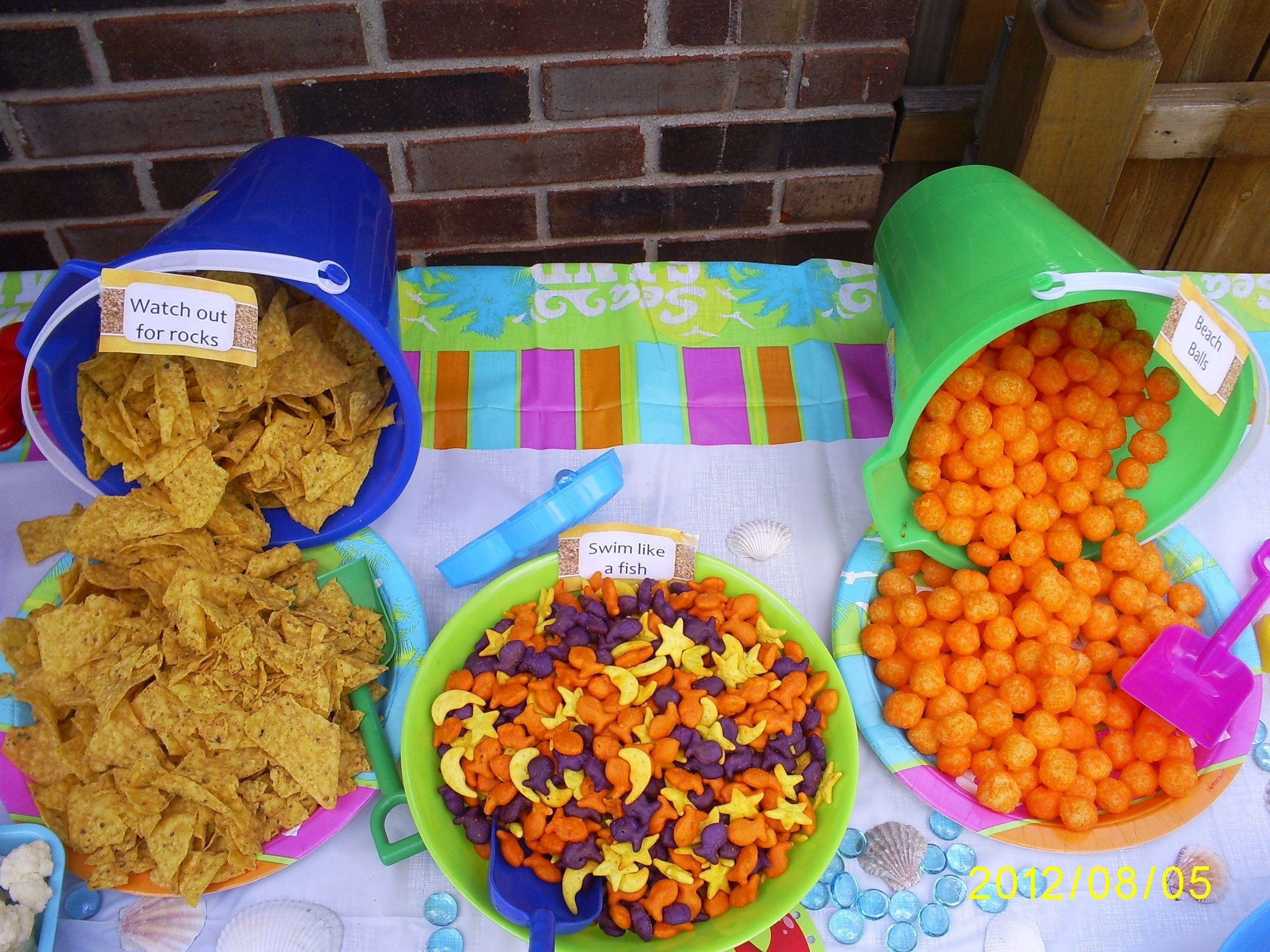 pool party food= doritos, gold fish, cheese puffs | nemo party
