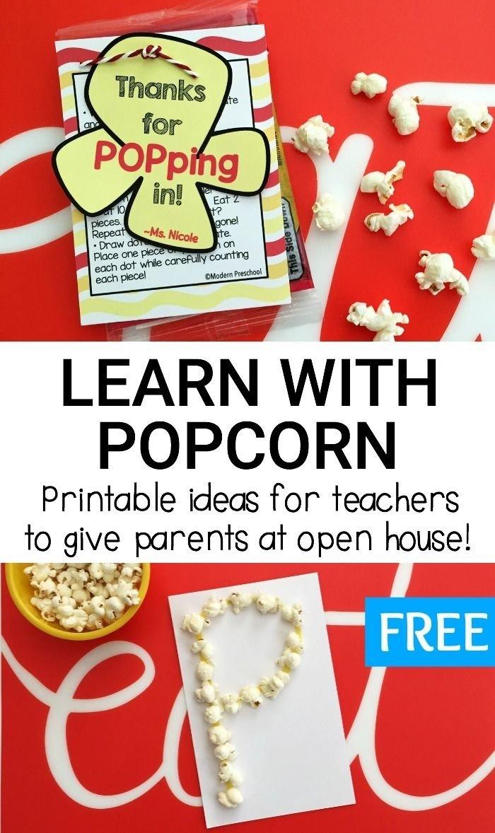 10 Fantastic Open House Ideas For Preschool popcorn learning ideas for preschool kindergarten kindergarten