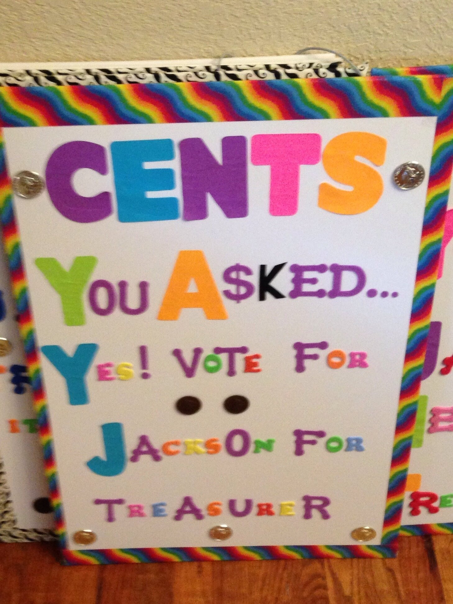 poster for elementary student council treasure thanks aunt trina
