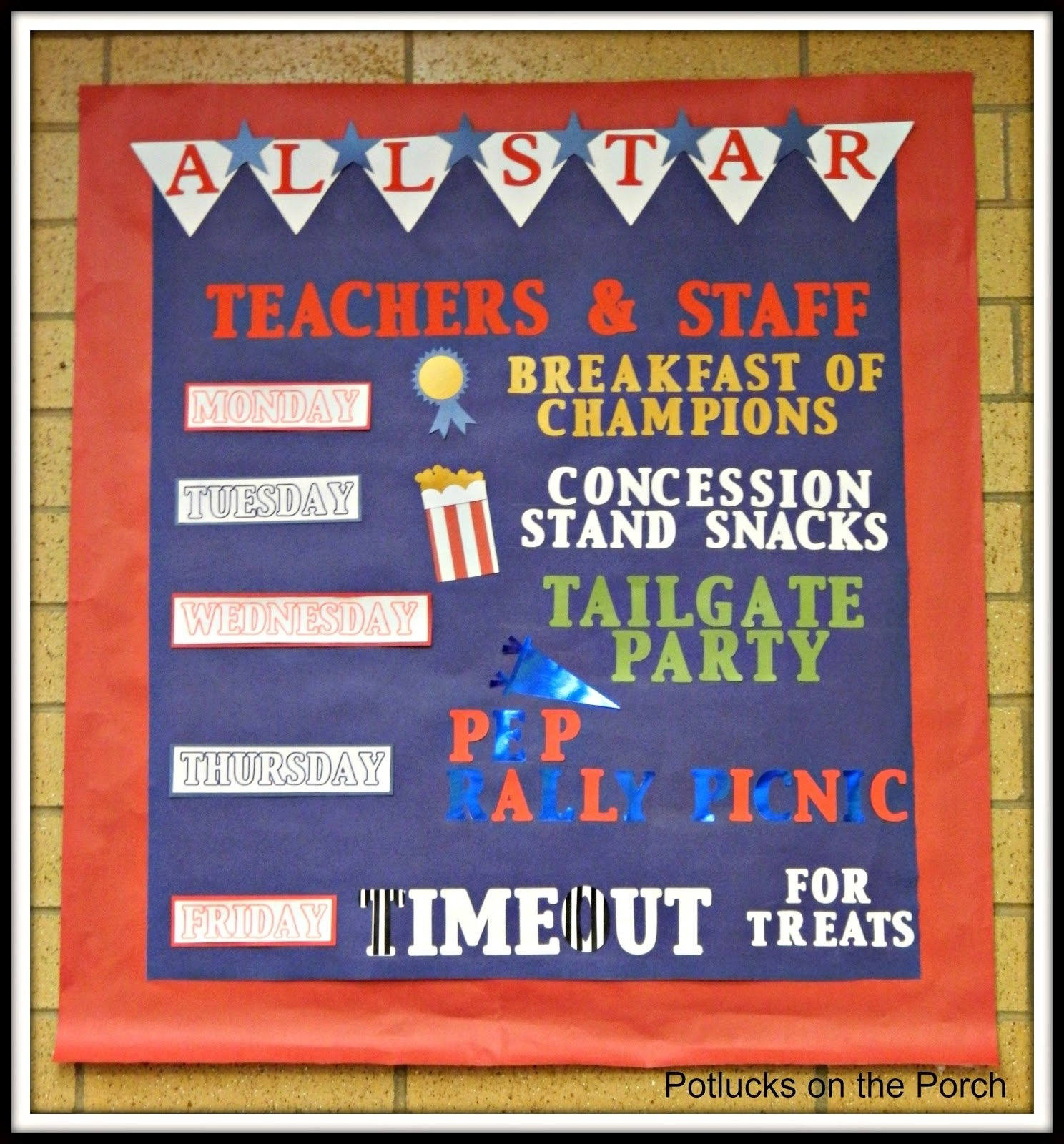 10 Gorgeous Teacher Appreciation Week Theme Ideas potlucks on the porch teacher appreciation week all star teachers