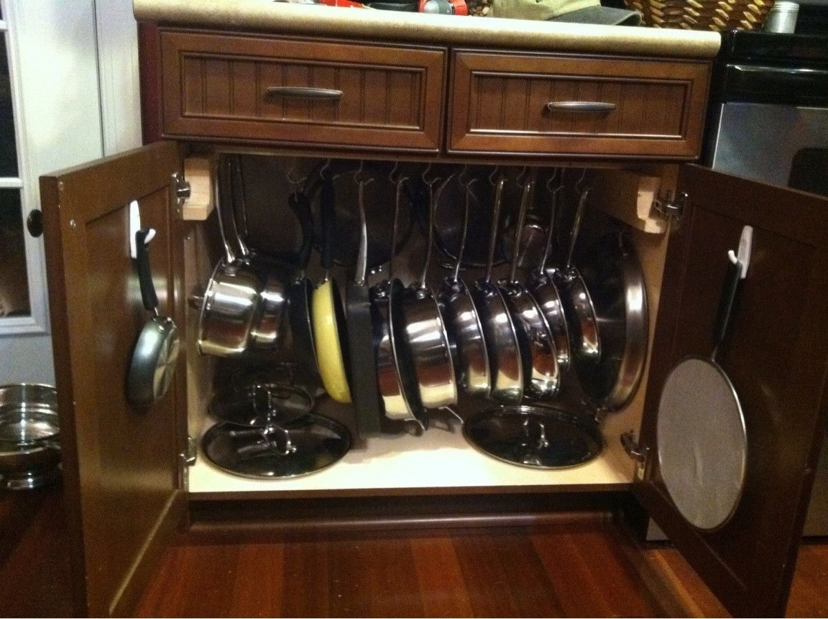 pots and pans storage   home!   pinterest   pan storage, storage and