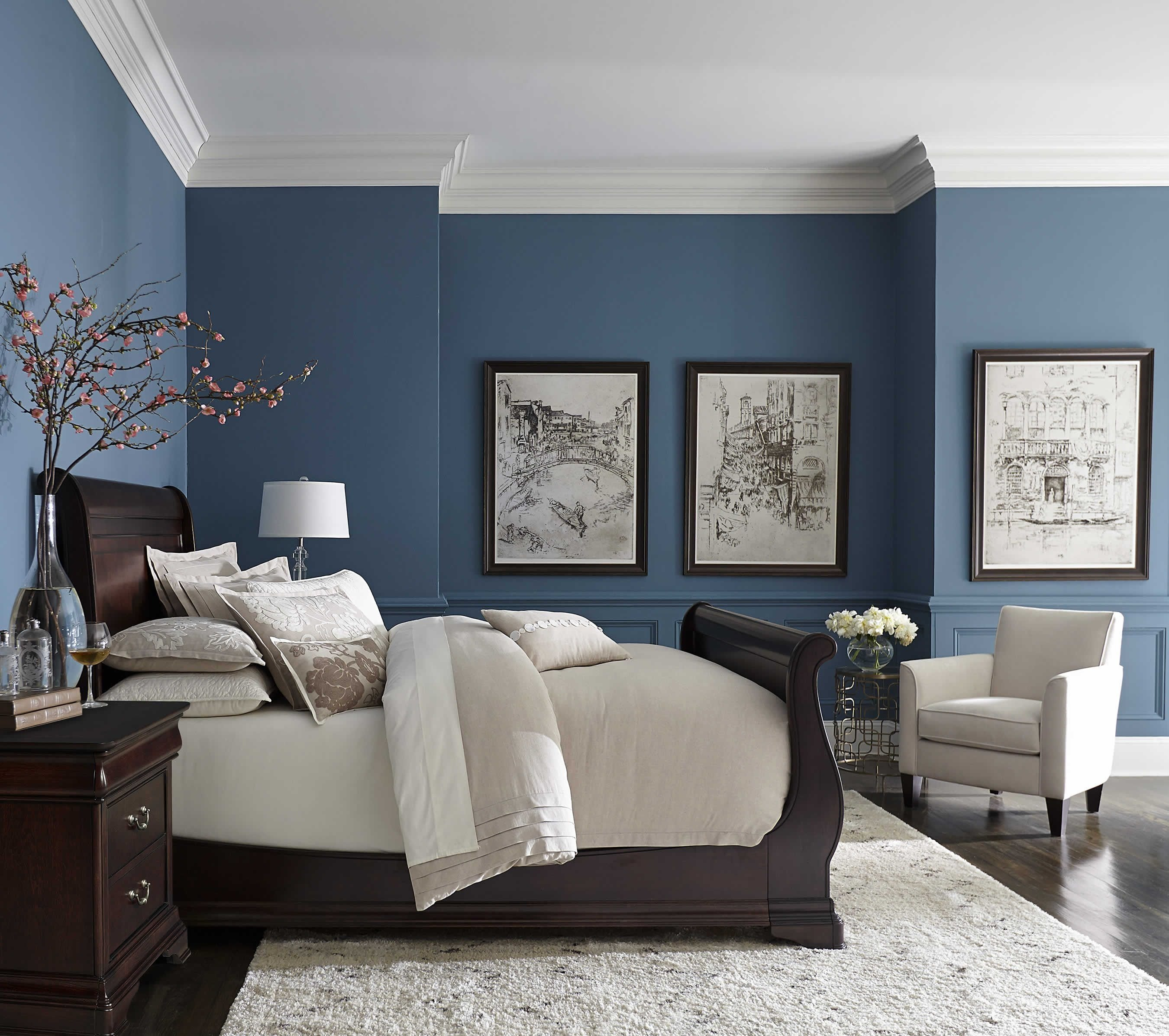 10 Fantastic Brown And Blue Bedroom Ideas pretty blue color with white crown molding home pinterest blue 2021