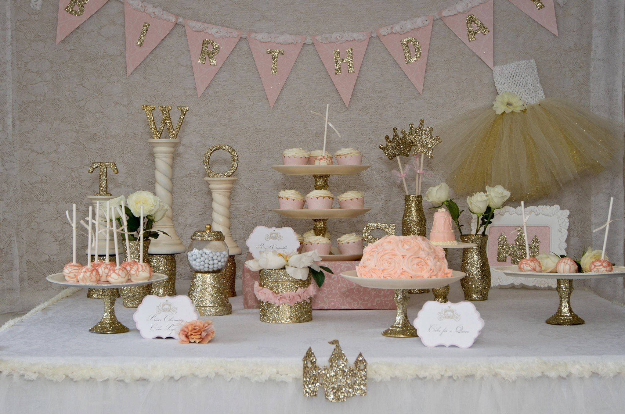 10 Perfect Princess 1St Birthday Party Ideas princess desserts table love the pastels and gold glitter once 2020