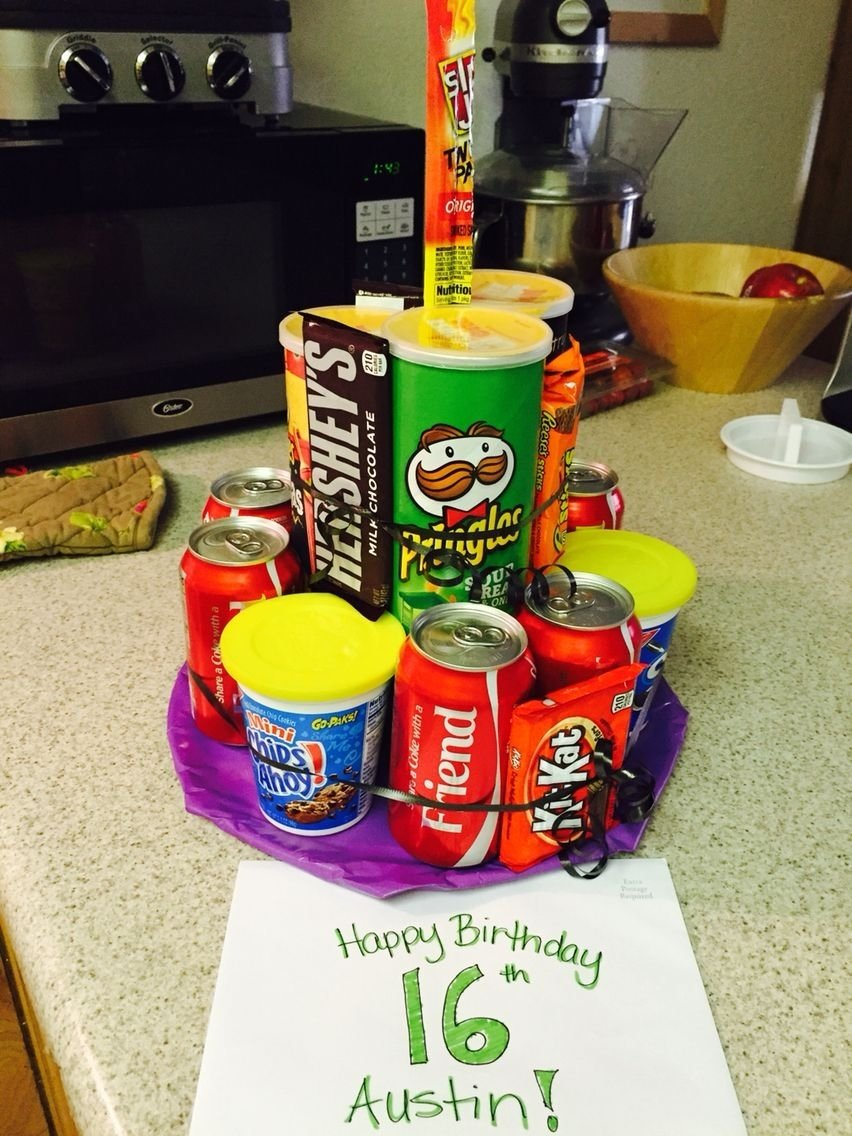 10 Ideal 16Th Birthday Gift Ideas For Boys pringles soda candy junk cake 16 year old boy birthday idea 20 2020