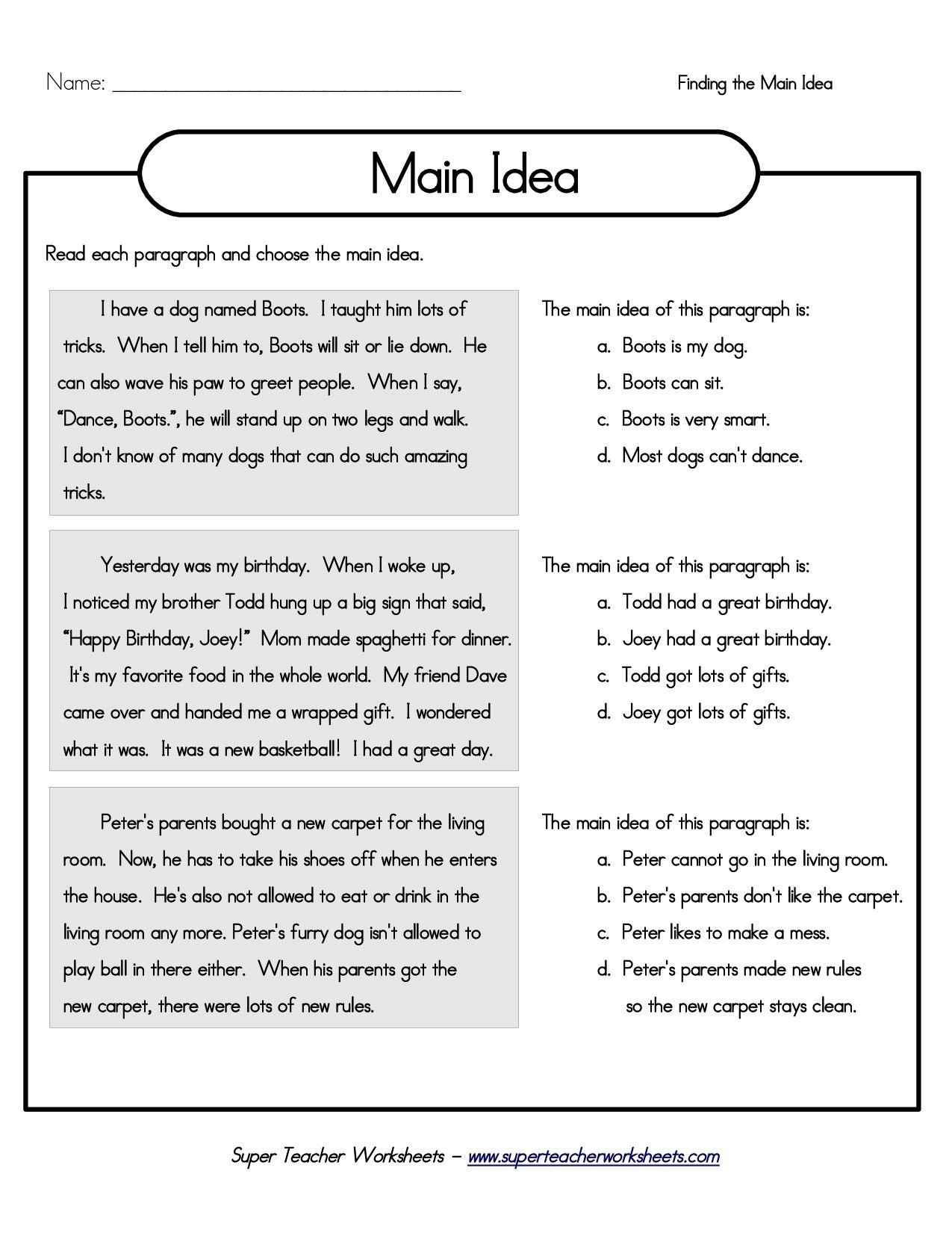 10 Stylish Main Idea Worksheets For 2Nd Grade printable 5th grade main idea worksheets main idea and details 28 2021