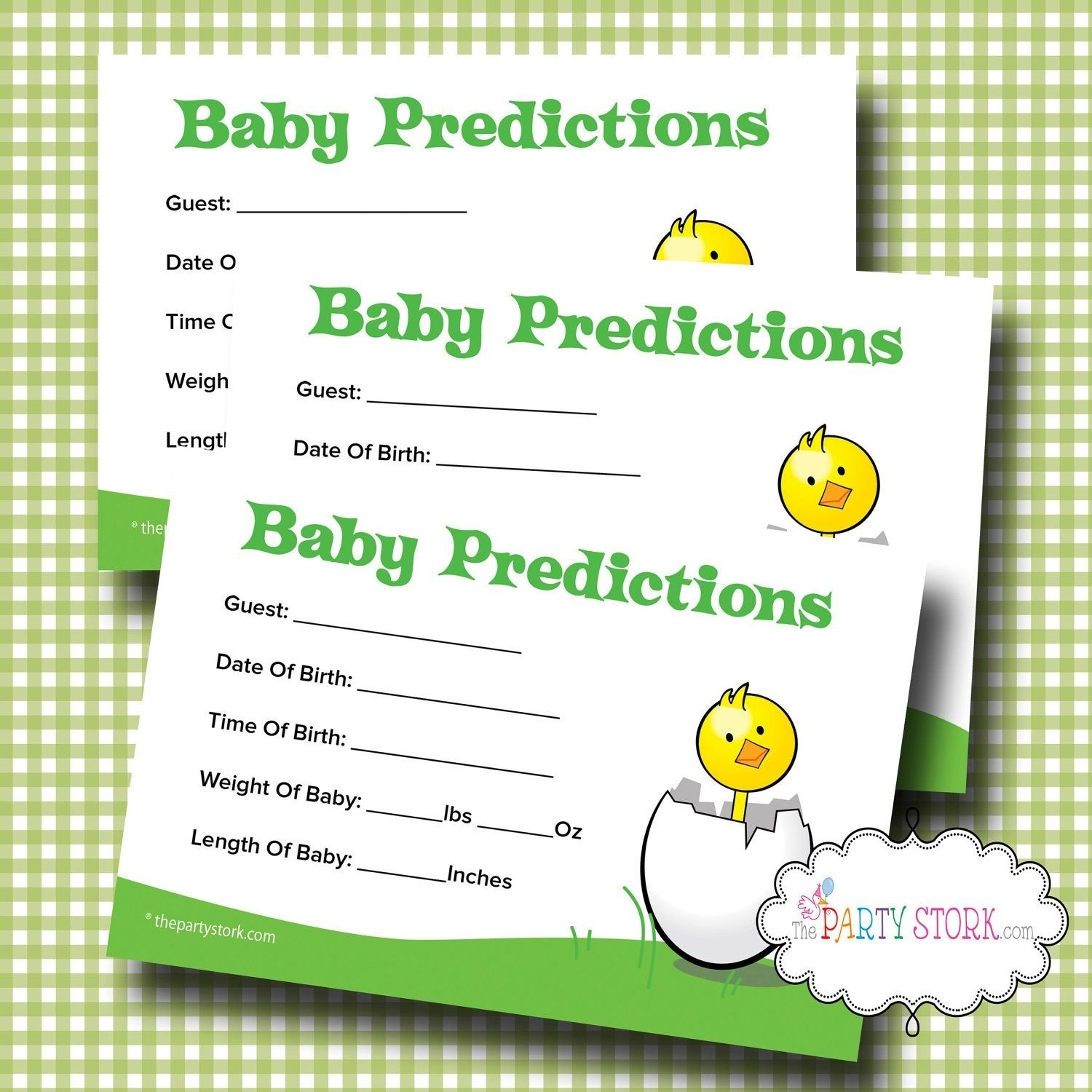 printable baby shower prediction game, baby shower predictions card