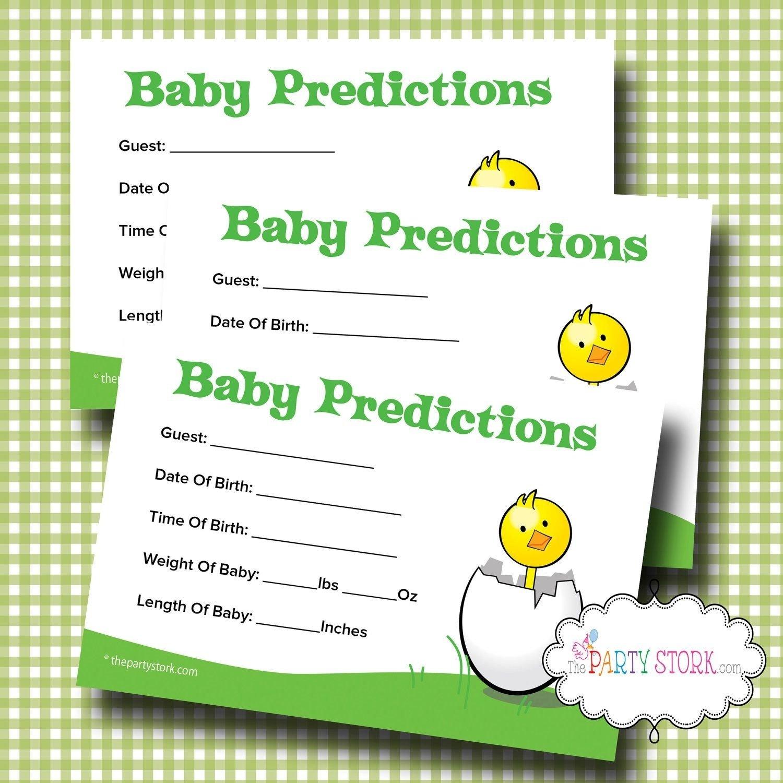 10 Nice Free Baby Shower Game Ideas printable baby shower prediction game baby shower predictions card 8