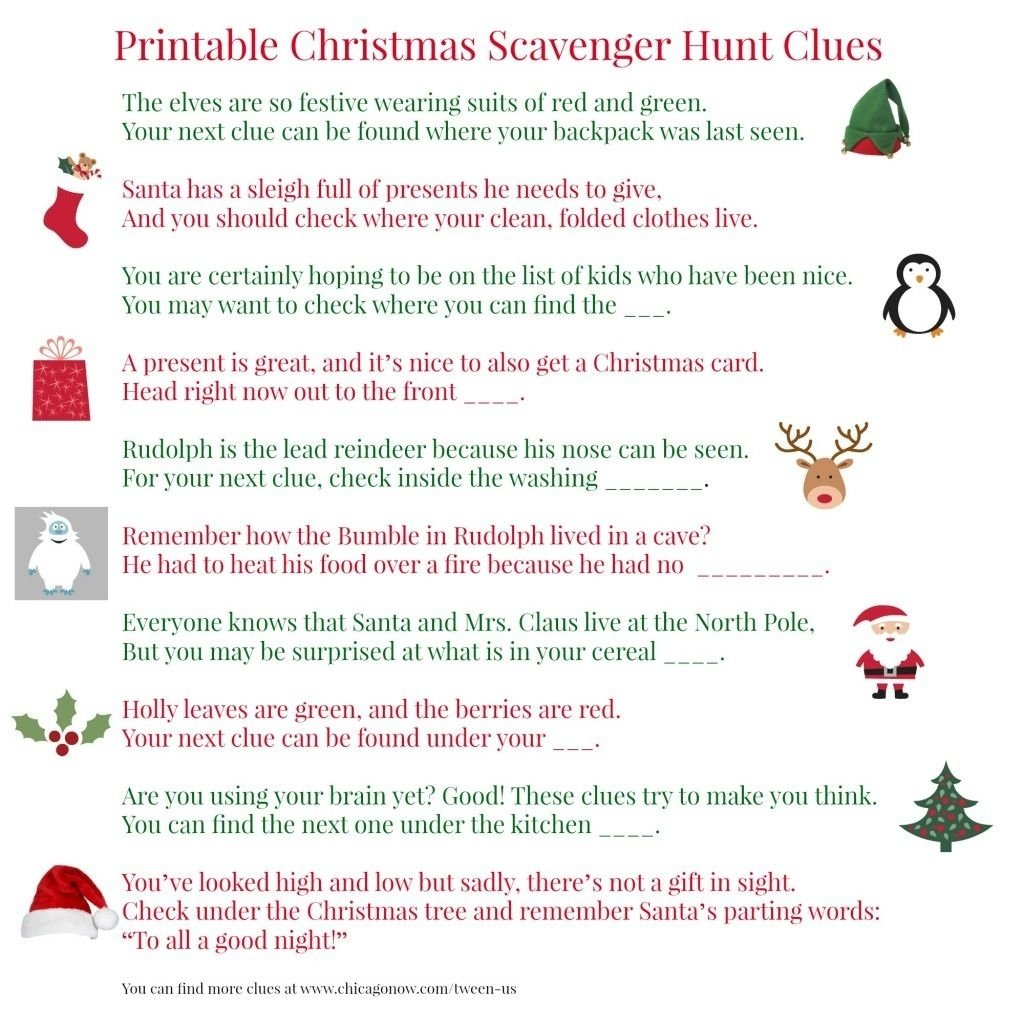 10 Fashionable Christmas Scavenger Hunt Ideas For Adults printable christmas scavenger hunt clues for present finding fun 2020