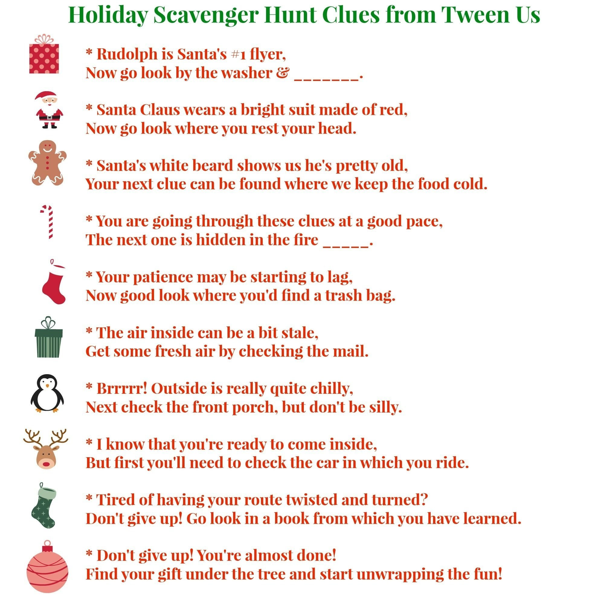 printable holiday scavenger hunt clues make present finding fun