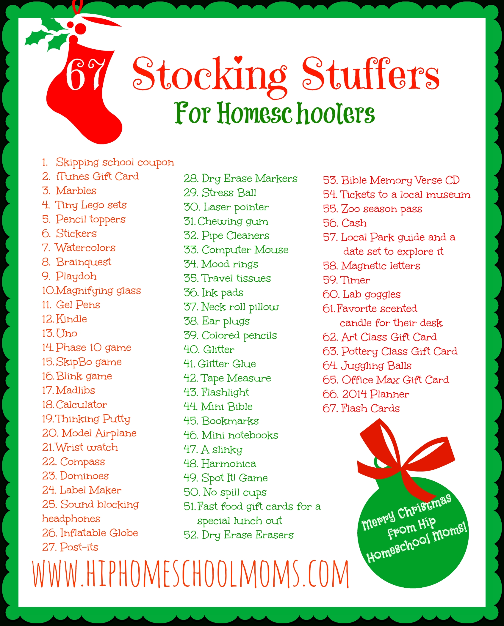 printable homeschool stocking stuffer ideas | hip homeschool moms