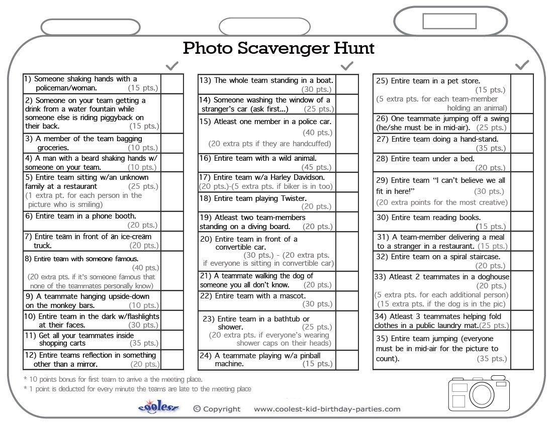 10 Awesome Photo Scavenger Hunt List Ideas printable photo scavenger hunt list coolest free printables 1 2021