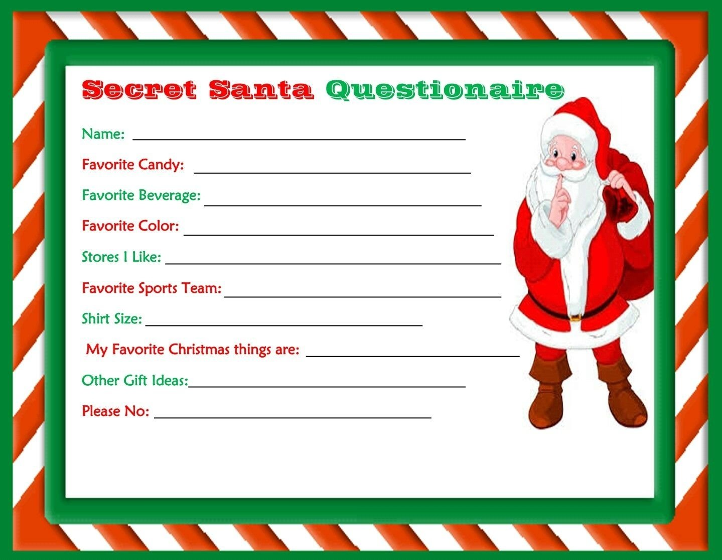 10 Most Recommended Secret Santa Ideas For Work printable secret santa questionaire made dollie wolford 2020