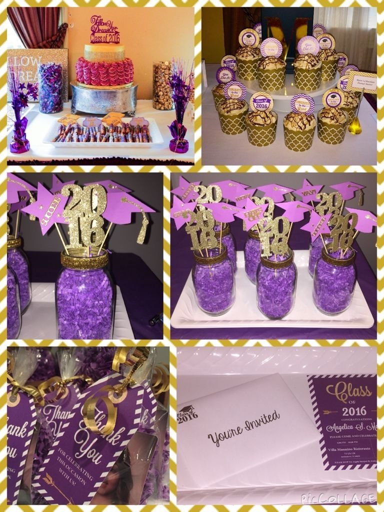 10 Pretty College Graduation Party Ideas For Adults purple and gold theme graduation partyfor invitation thank you
