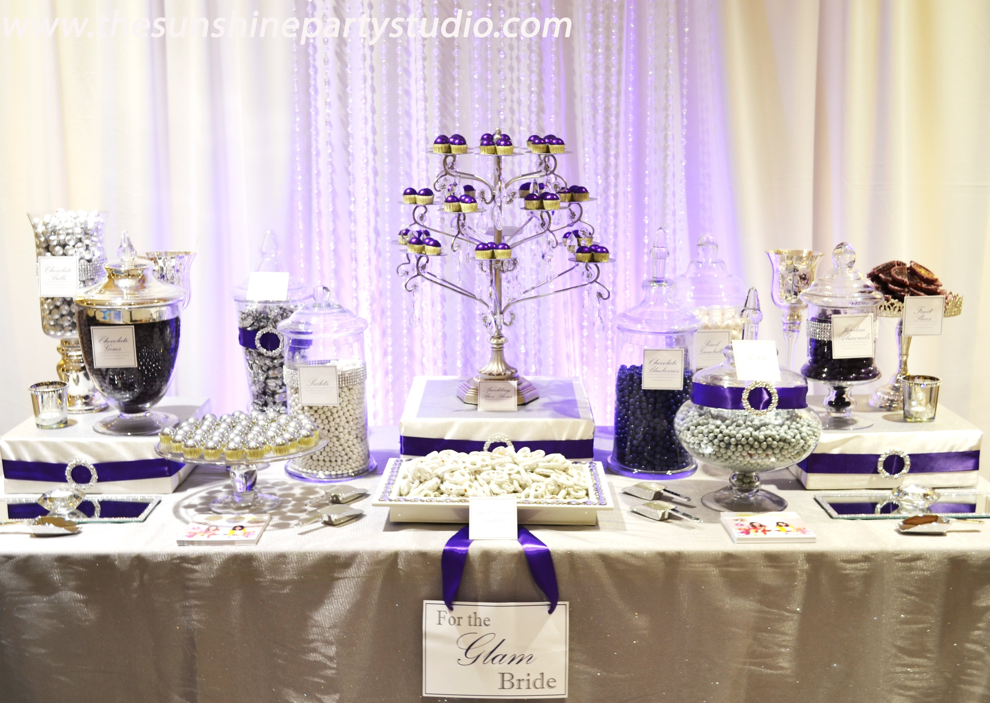 "purple and silver wedding candy buffet tables |  glam"" wedding"