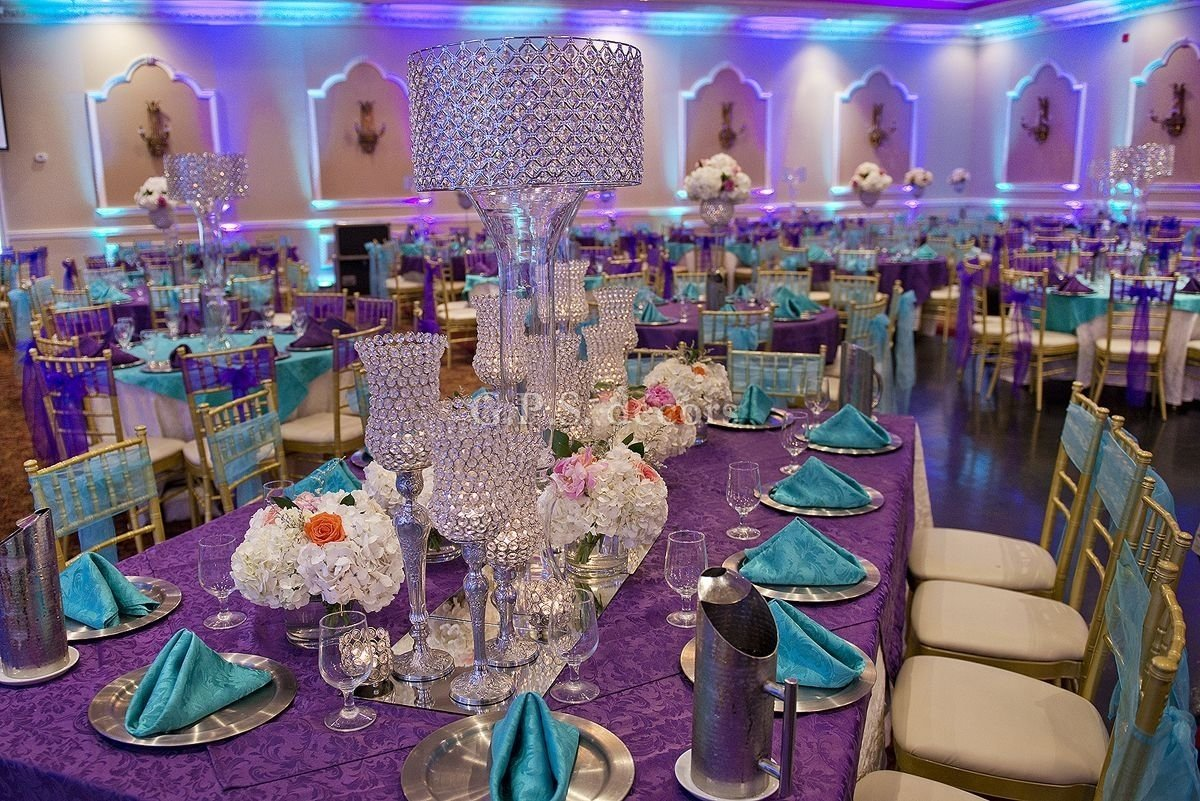 purple and turquoise wedding centerpieces purple & turquoise