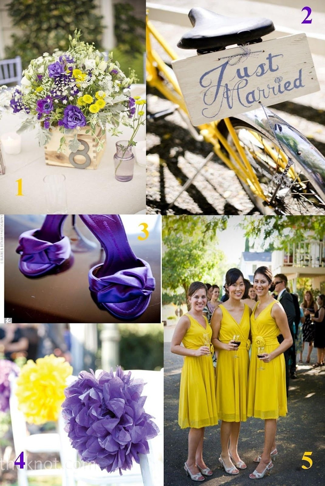 purple and yellow wedding idea |  wedding photos showcasing the
