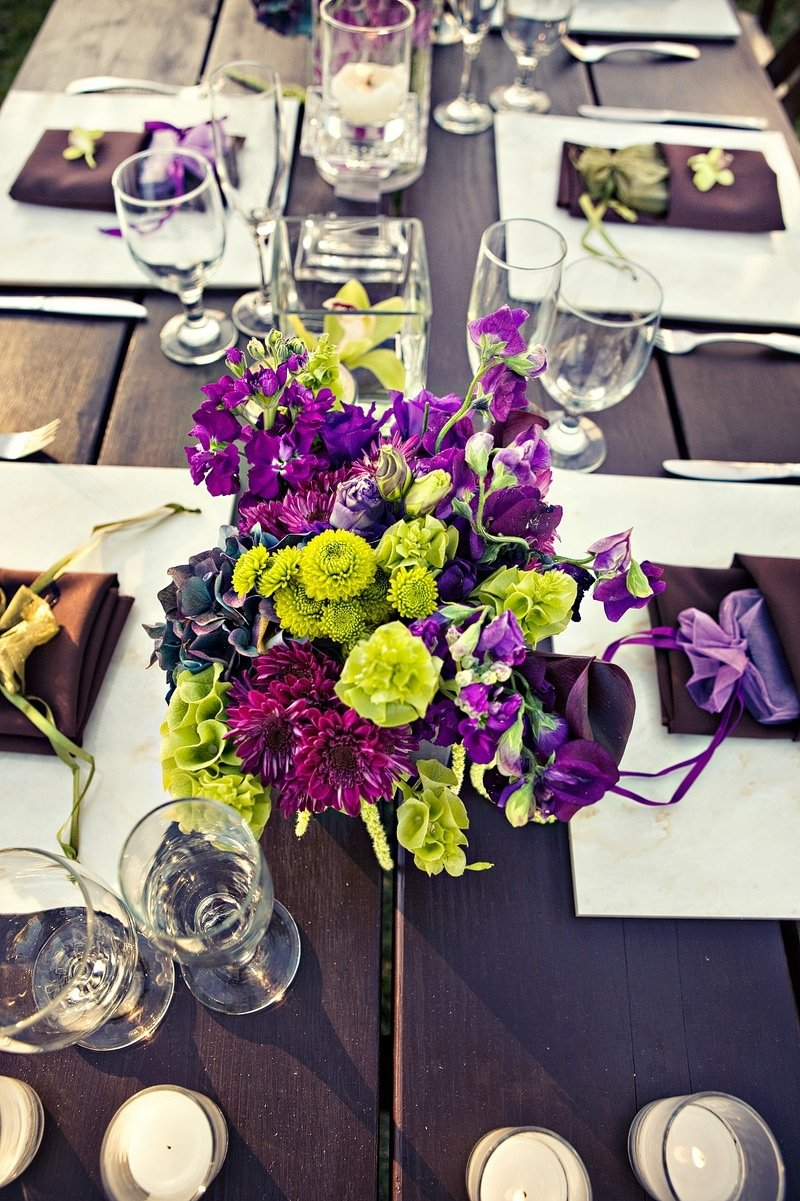 Eggplant And Green Wedding Centerpieces Topsimages