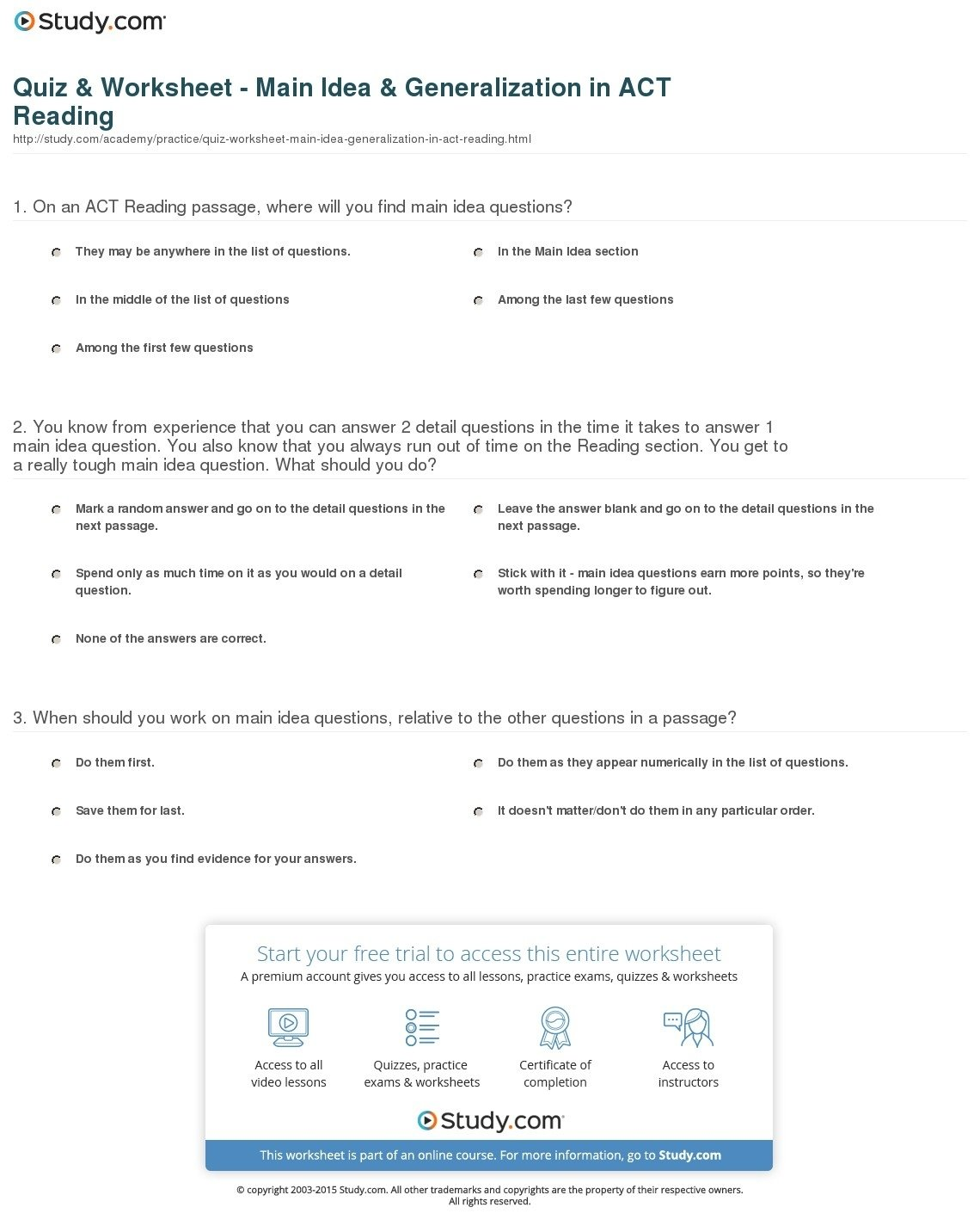 10 Pretty Short Passages For Main Idea quiz worksheet main idea generalization in act reading study 2021