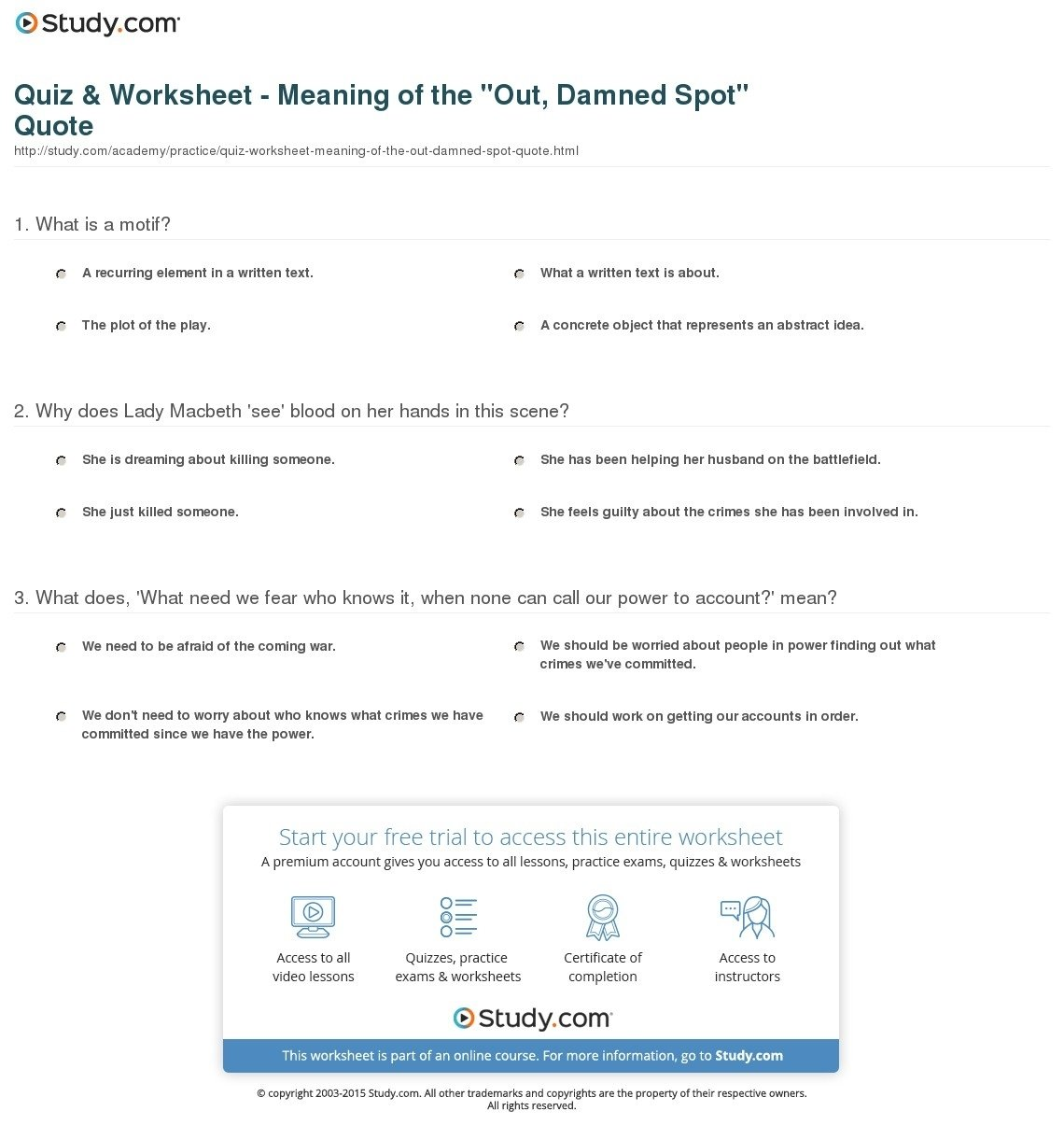 10 Best What Does Abstract Ideas Mean quiz worksheet meaning of the out damned spot quote study