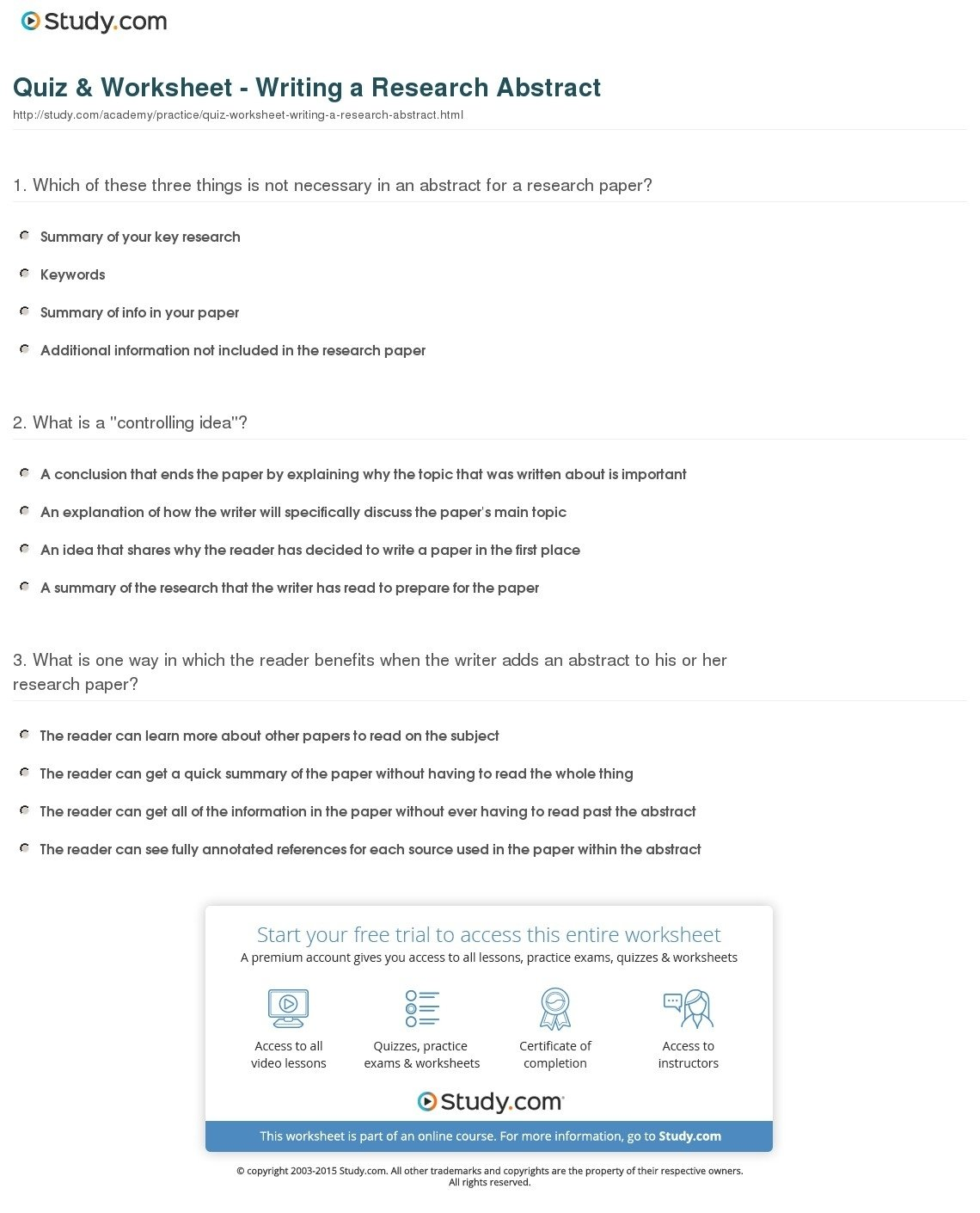 quiz worksheet writing a research abstract study com what is the in