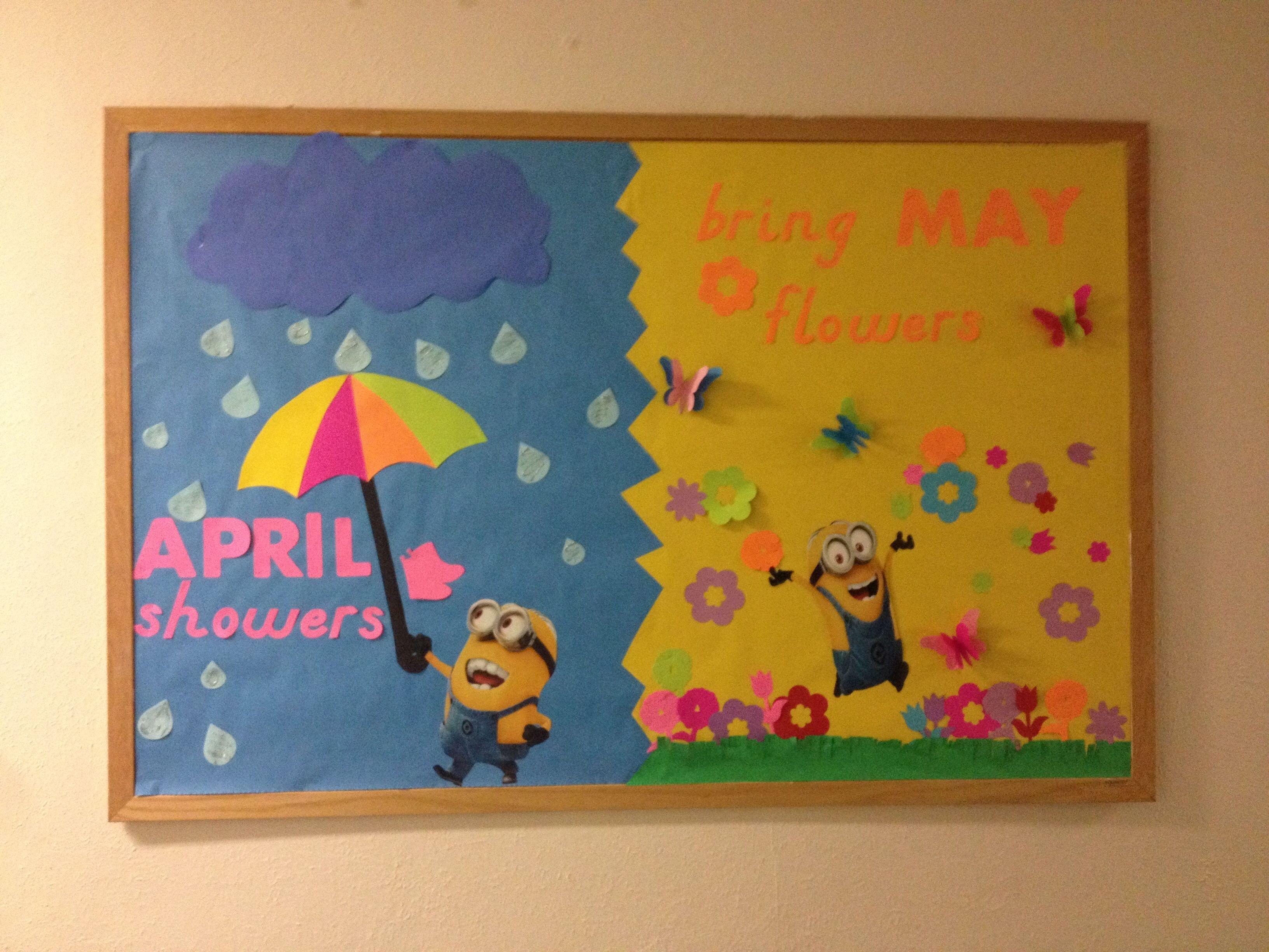 10 Pretty Bulletin Board Ideas For April ra ideas april minion bulletin board april showers bring may 2 2020