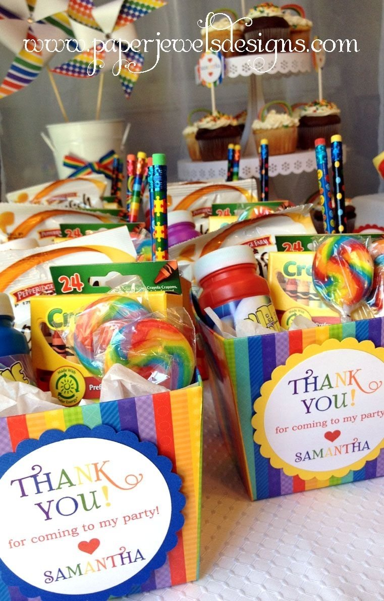 rainbow birthday party favors (crayons, bubbles, rainbow goldfish