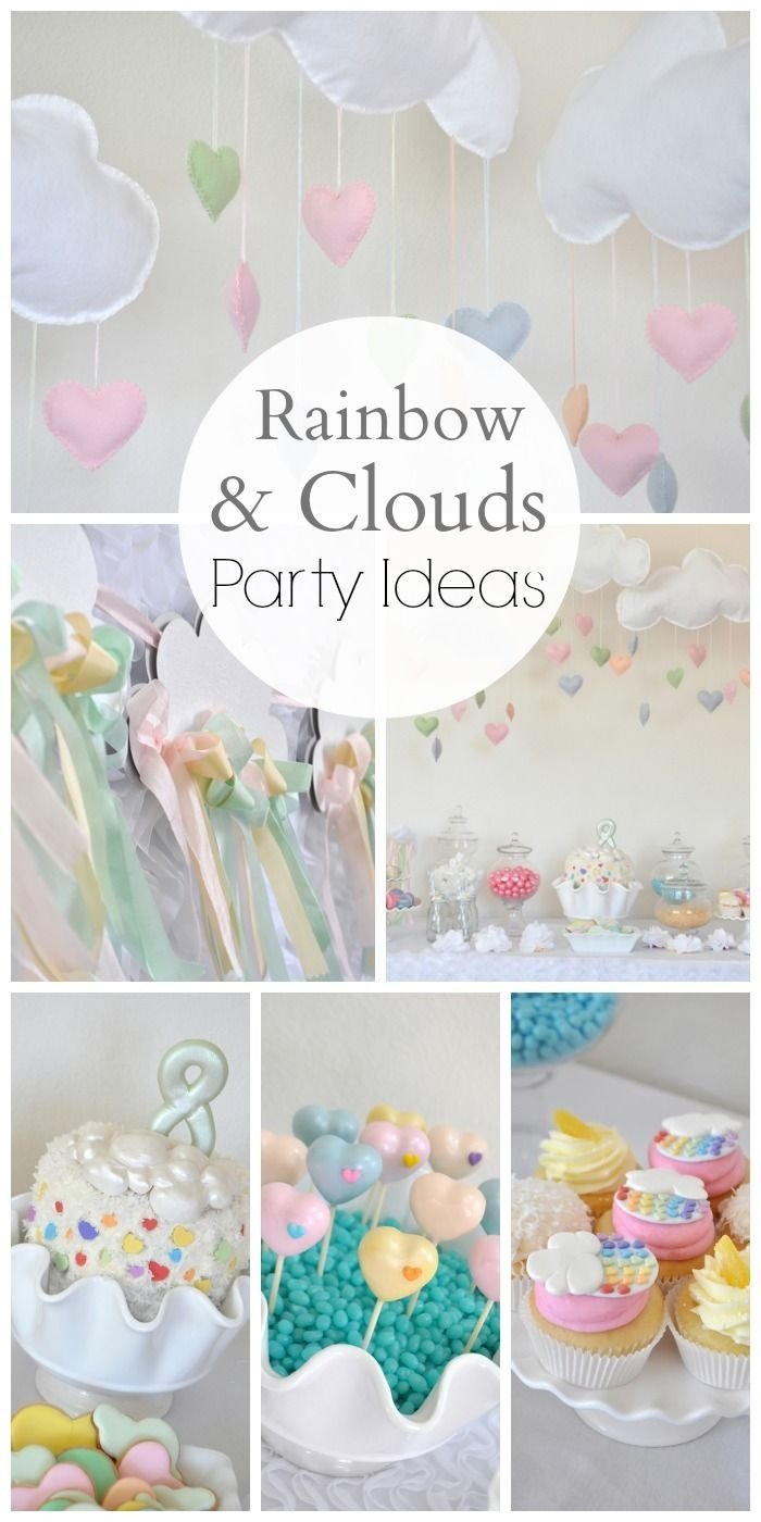 "rainbow, clouds & craft / birthday ""rainbow clouds birthday party"