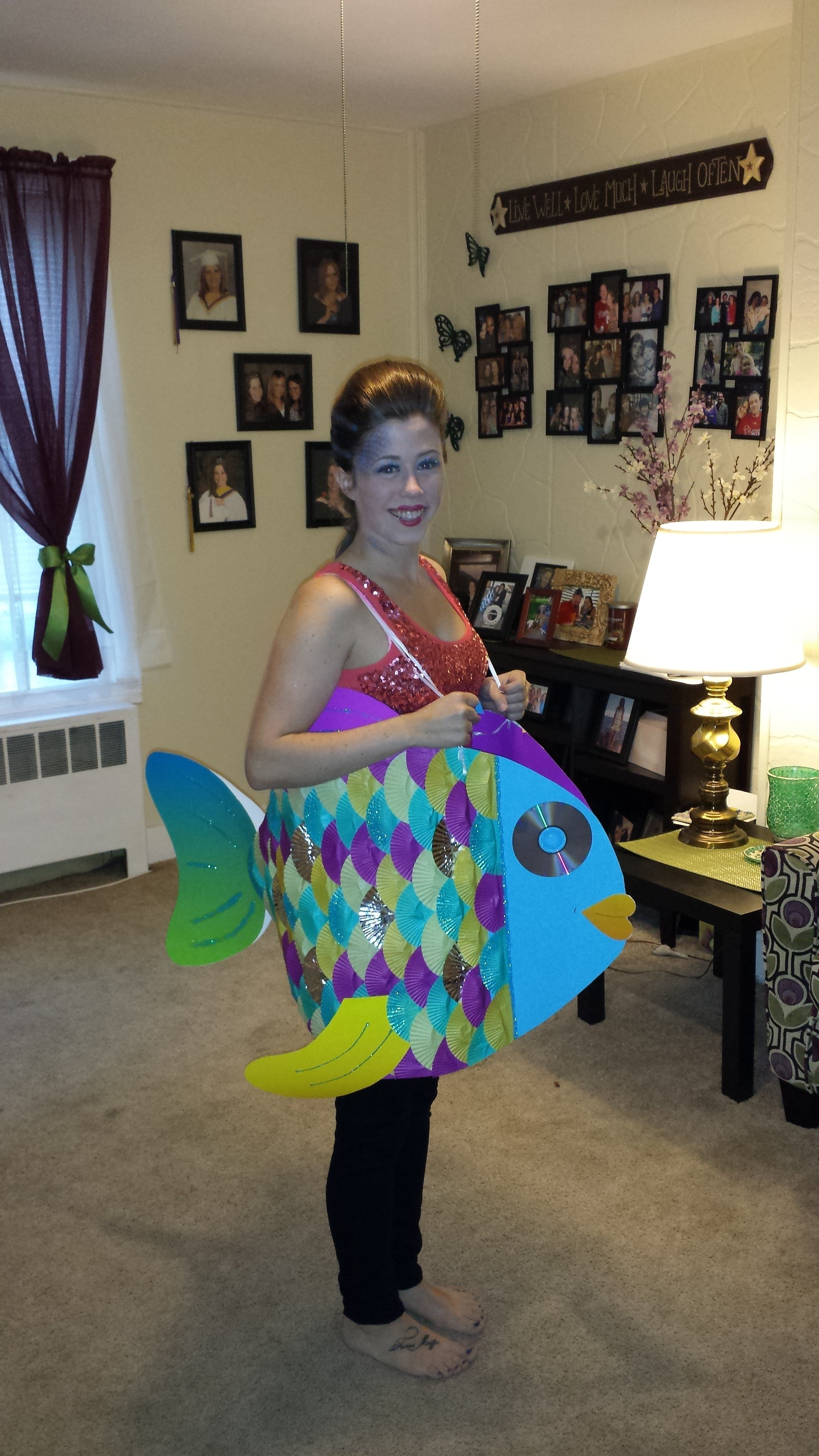 10 Unique Under The Sea Costume Ideas rainbow fish halloween costume poster board cupcake liners and
