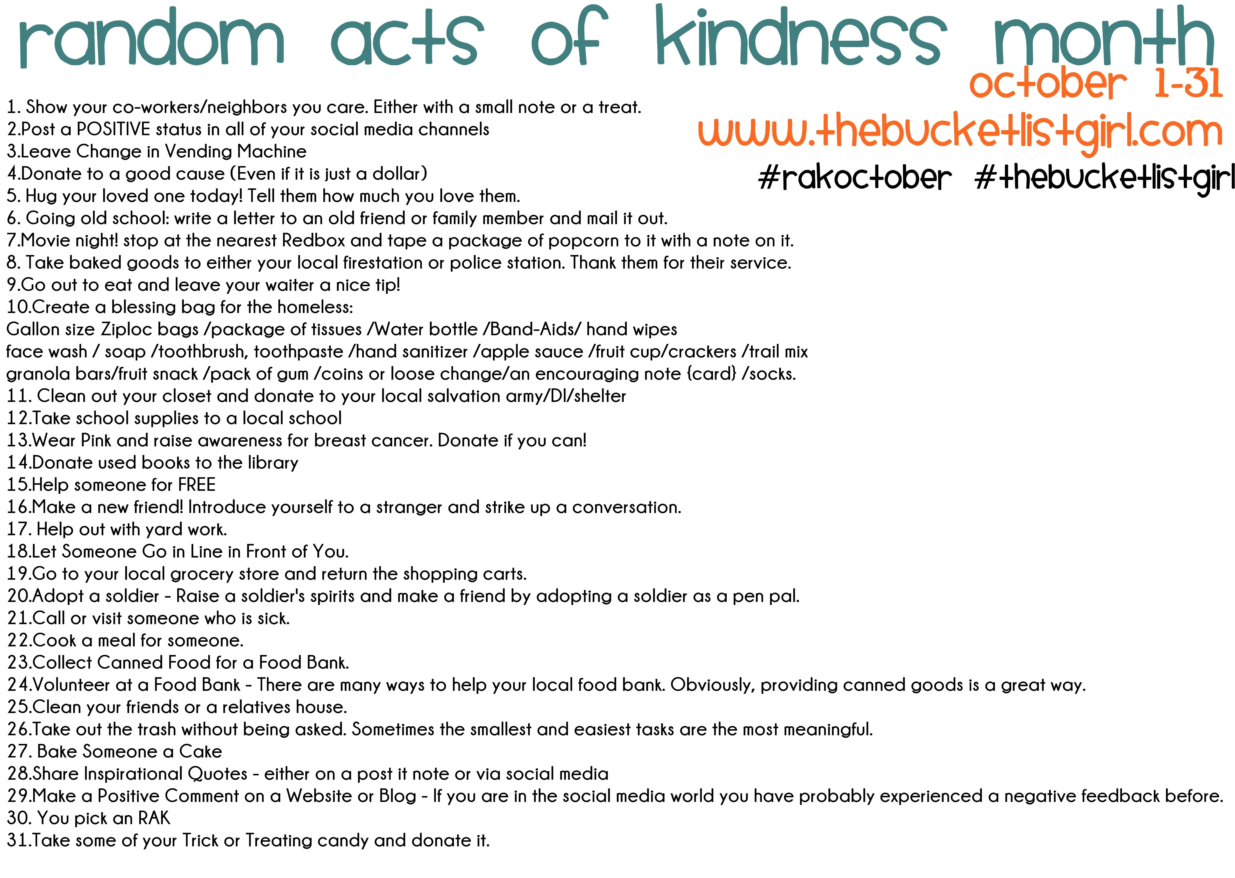 10 Stunning Random Acts Of Kindness Ideas For School random acts of kindness happyforhappyness 1