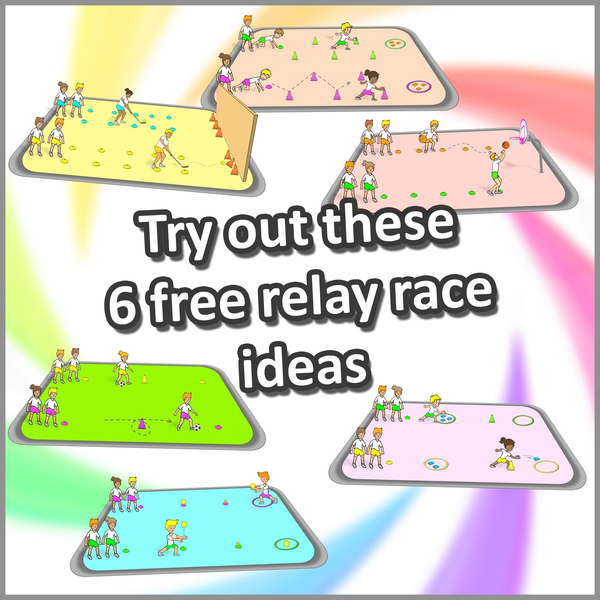 rapid relay races': 6 competitive, challenging relay race ideas | pe