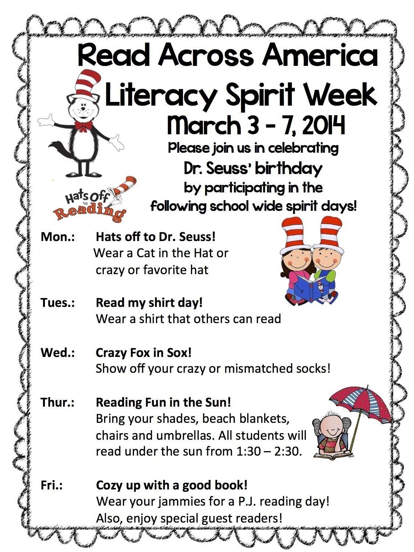 10 Most Recommended Spirit Week Ideas For Elementary School read across america week read across america spirit week dr
